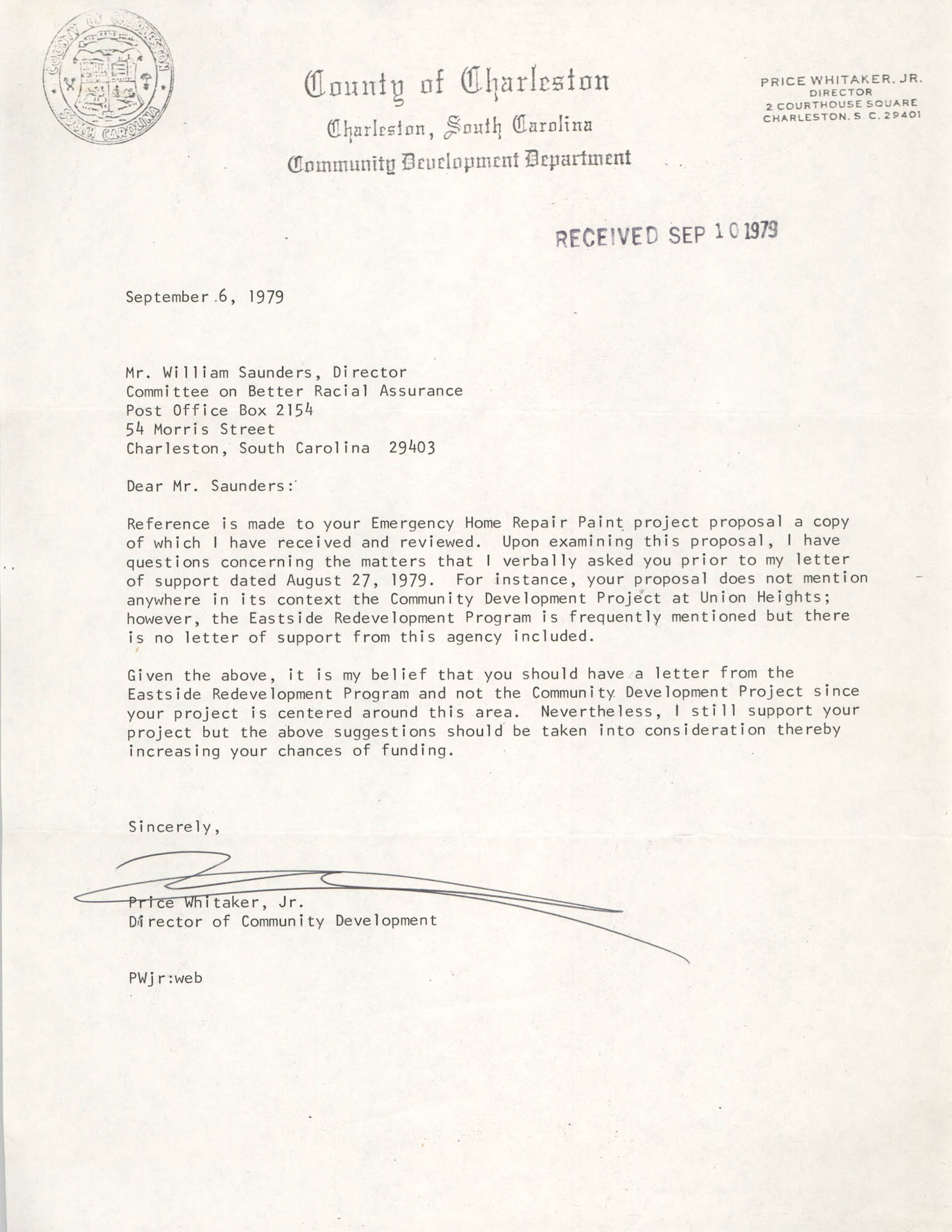 Letter from Price Whitaker, Jr. to William Saunders, September 6, 1979