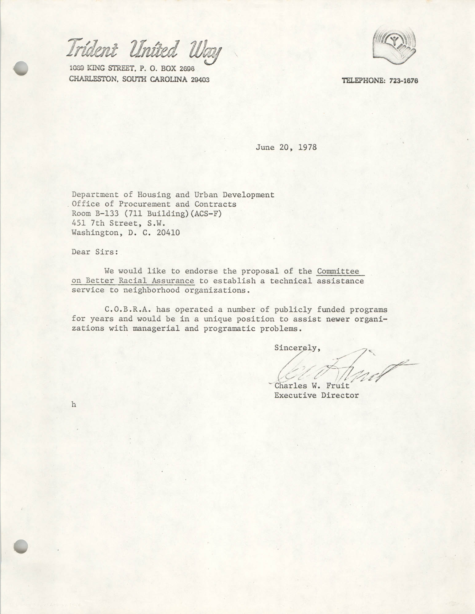 Letter from Charles W. Fruit to Department of Housing and Urban Development, June 20, 1978