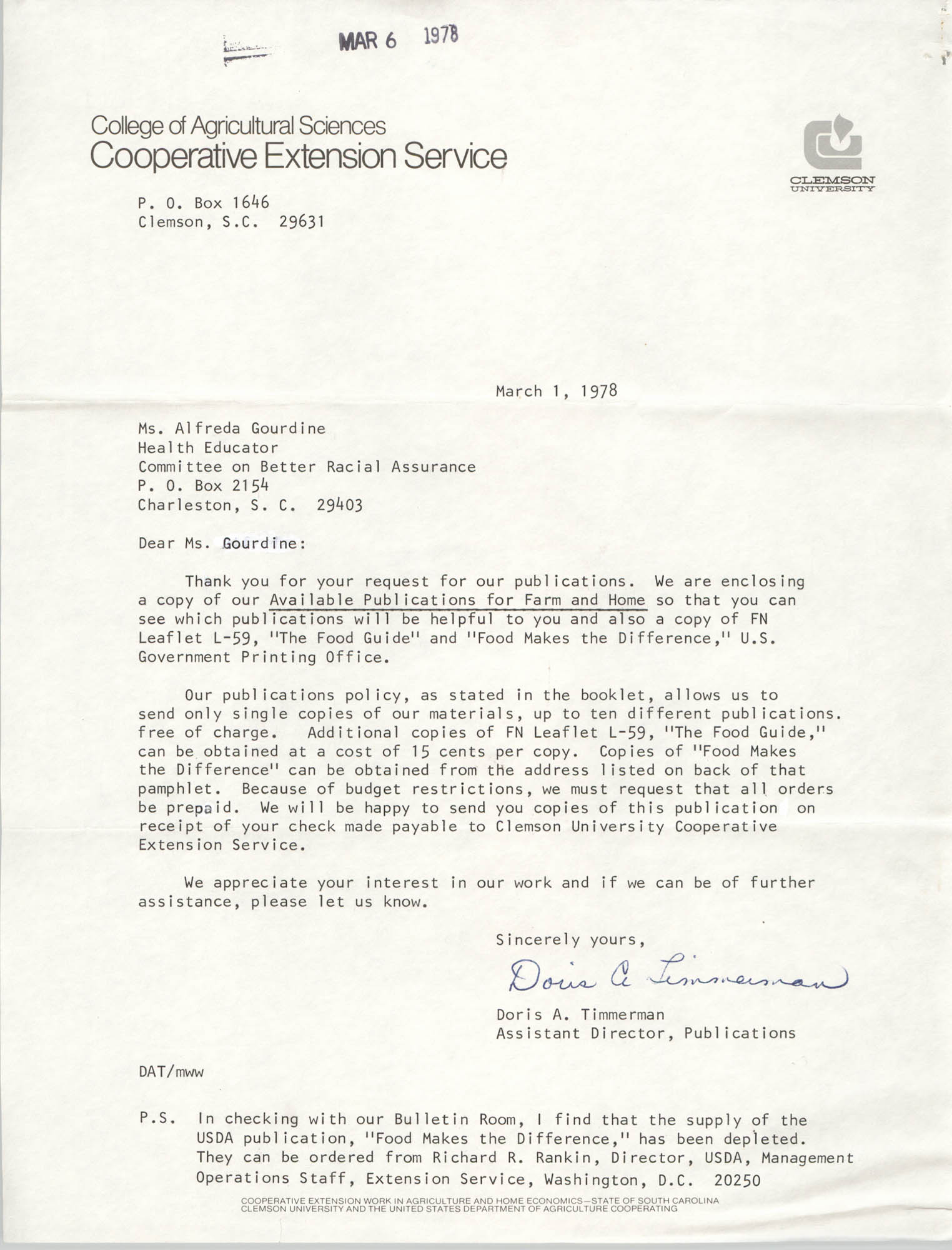Letter from Doris A. Timmerman to Alfreda Gourdine, March 1, 1978