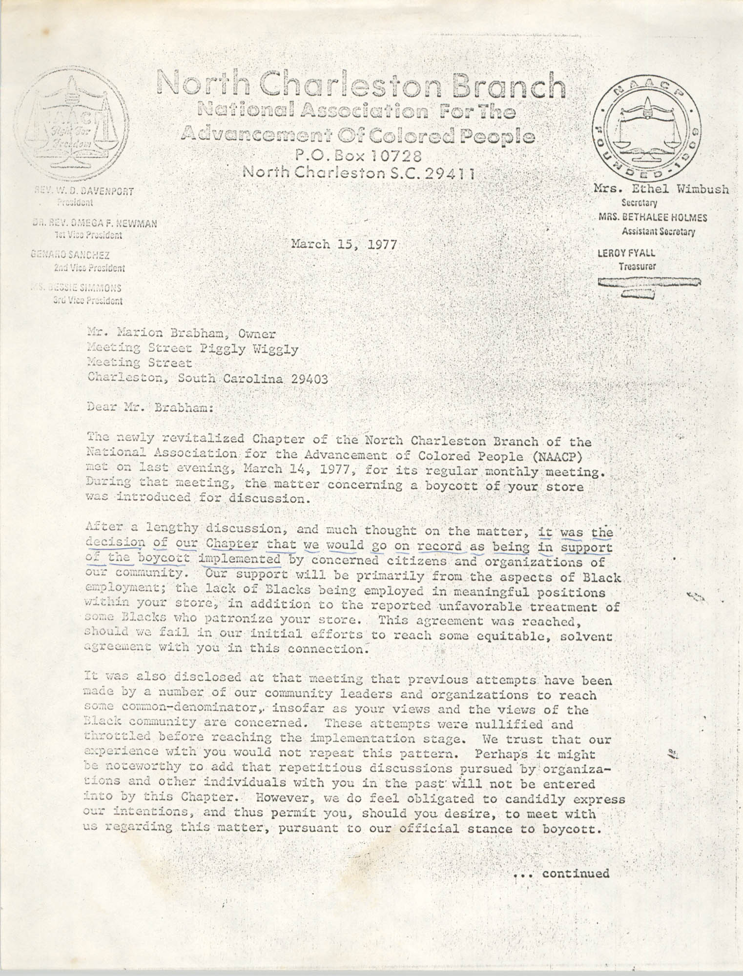 Letter from W. F. Davenport to Marion Brabham, March 15, 1977