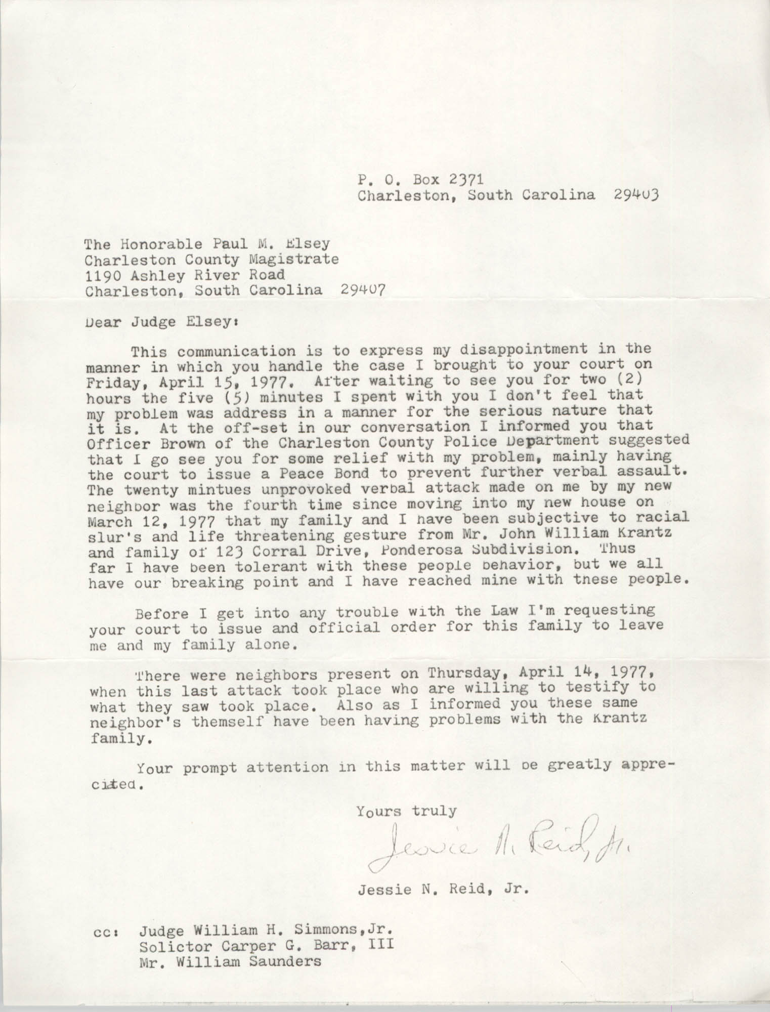 Letter from Jessie N. Reid, Jr. to Paul M. Elsey, 1977