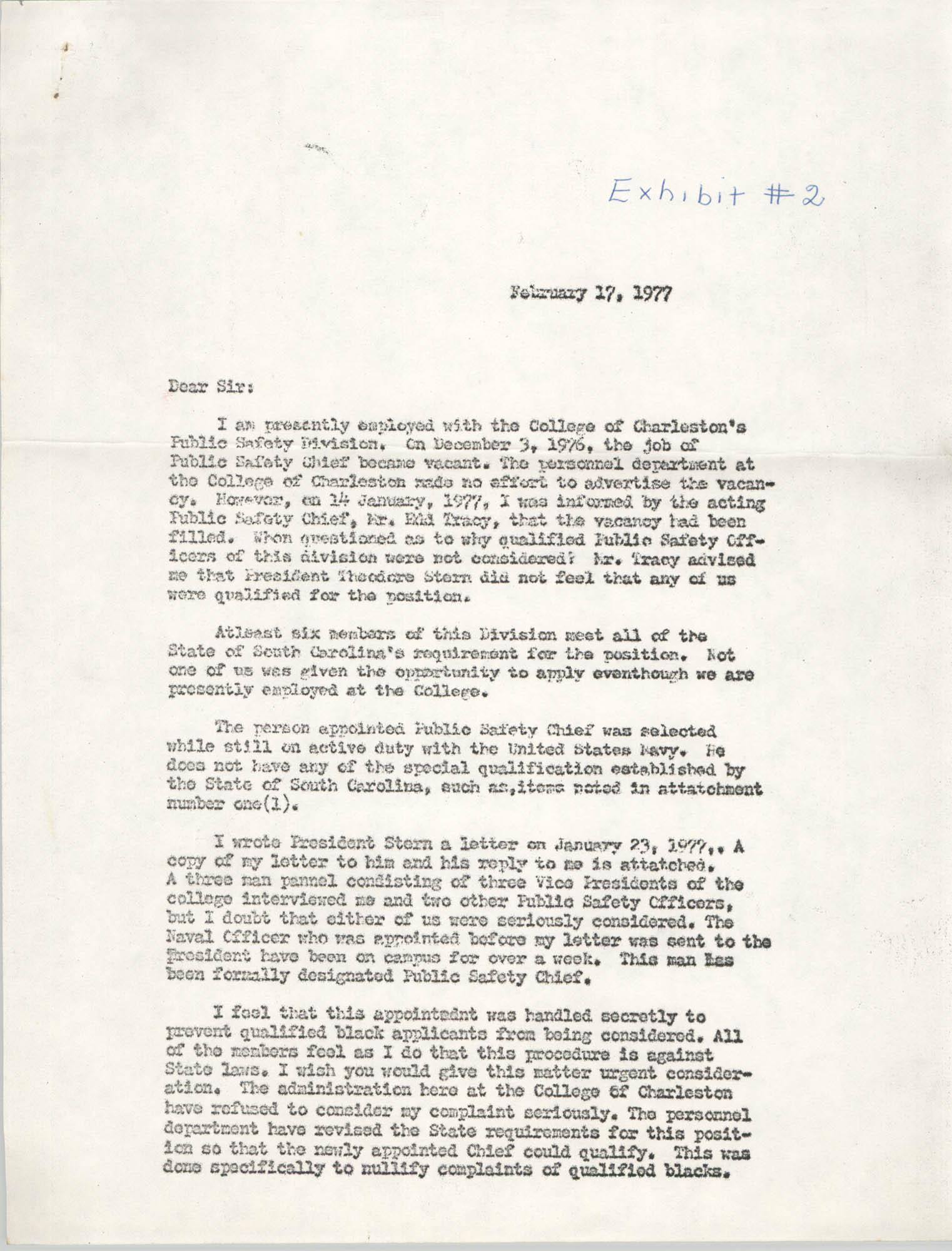 Letter from Benjamin Grant, February 17, 1977