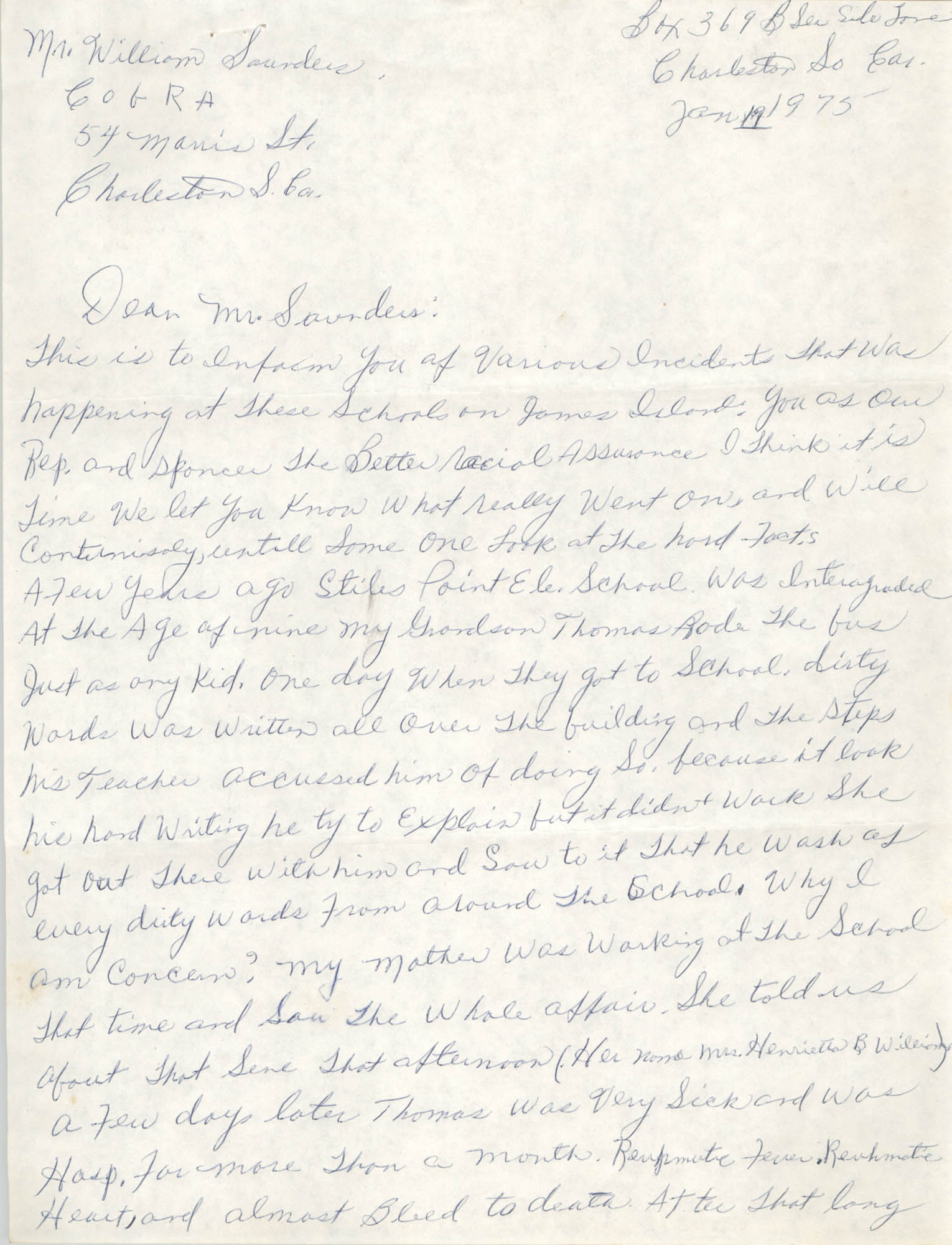 Letter to William Saunders, January 19, 1975