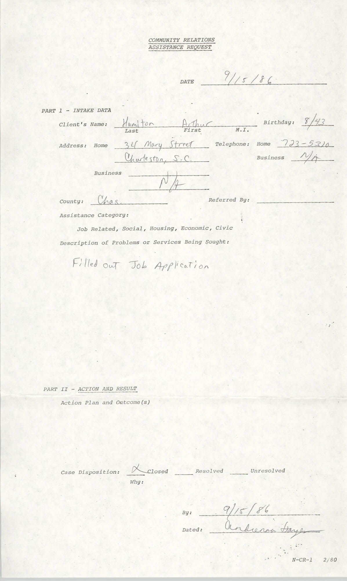 Community Relations Assistance Request, September 15, 1986