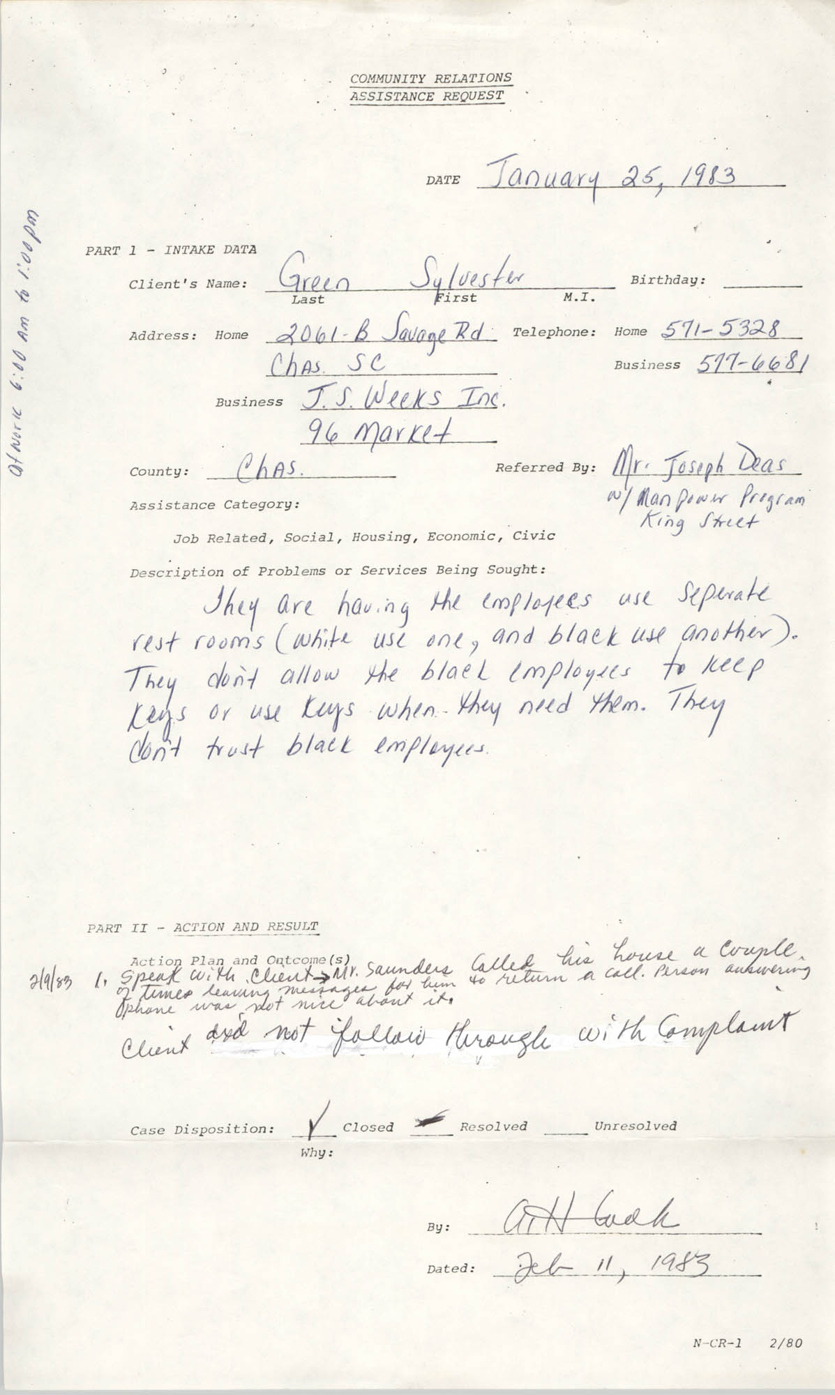 Community Relations Assistance Request, January 25, 1983