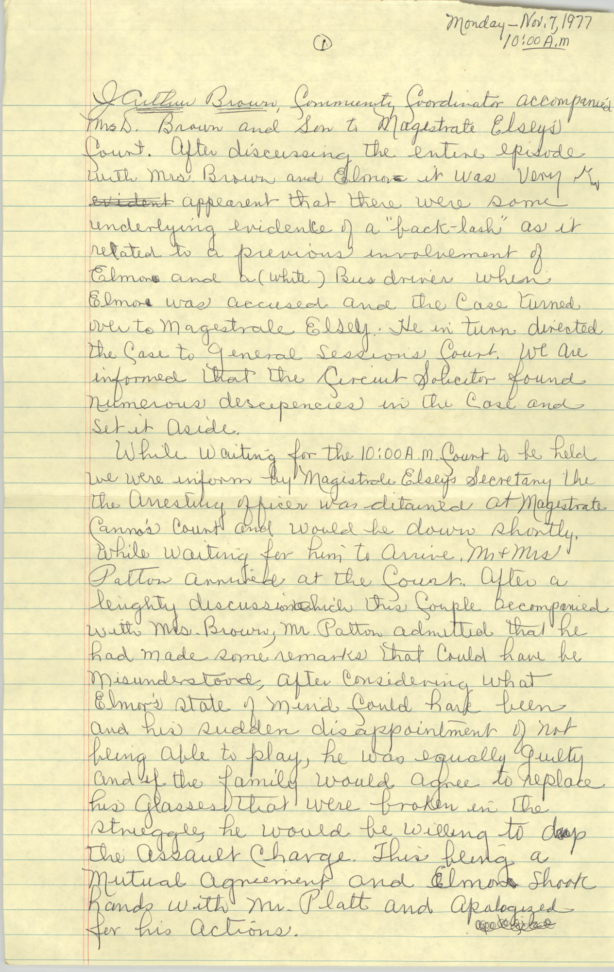 Handwritten COBRA Notes, November 7, 1977
