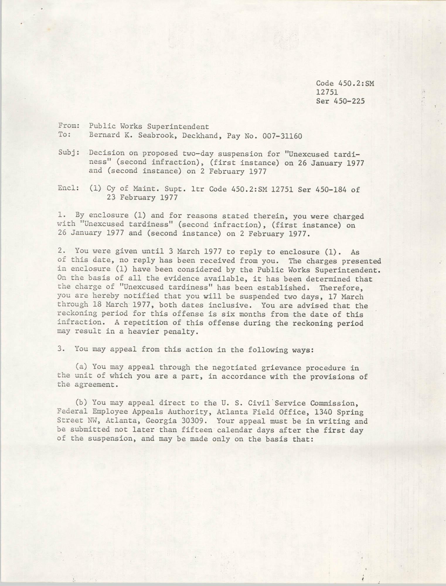 Memorandum, 1977