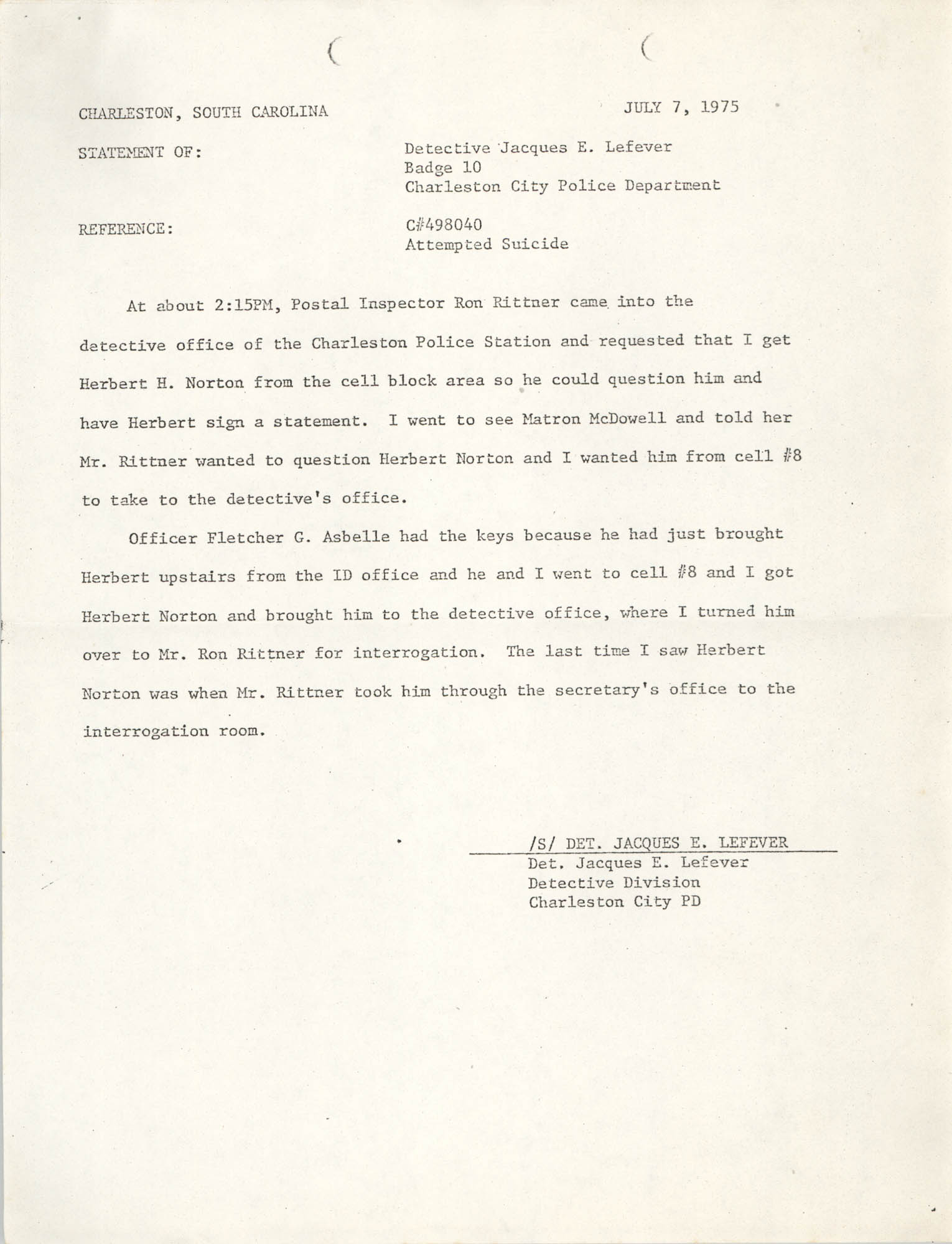 Memorandum, July 7, 1975