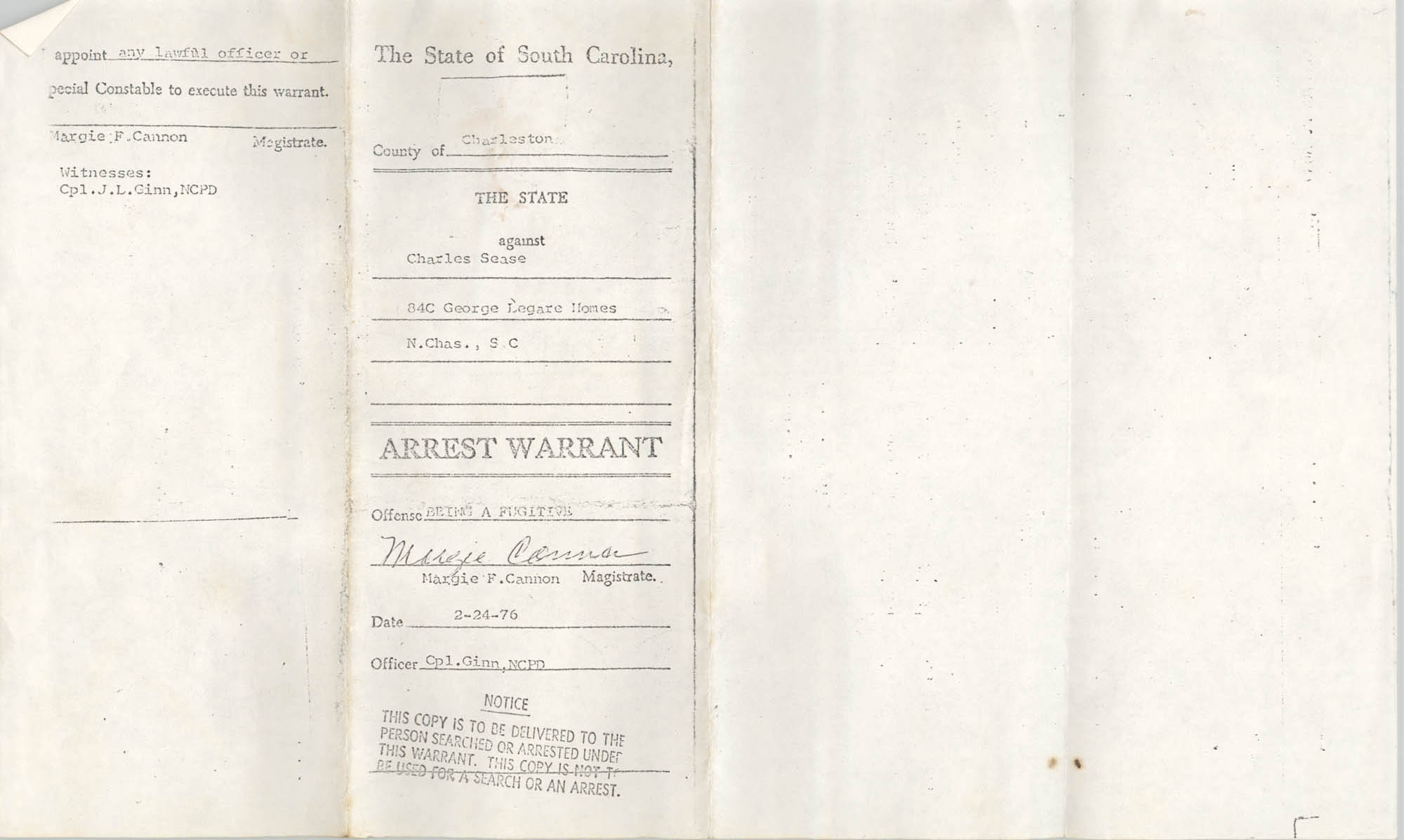 The State of South Carolina Arrest Warrant, Charles Sease