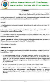 Acta de una reunión de la Asociación Latina de Charleston  /  Latino Association of Charleston Meeting Minutes