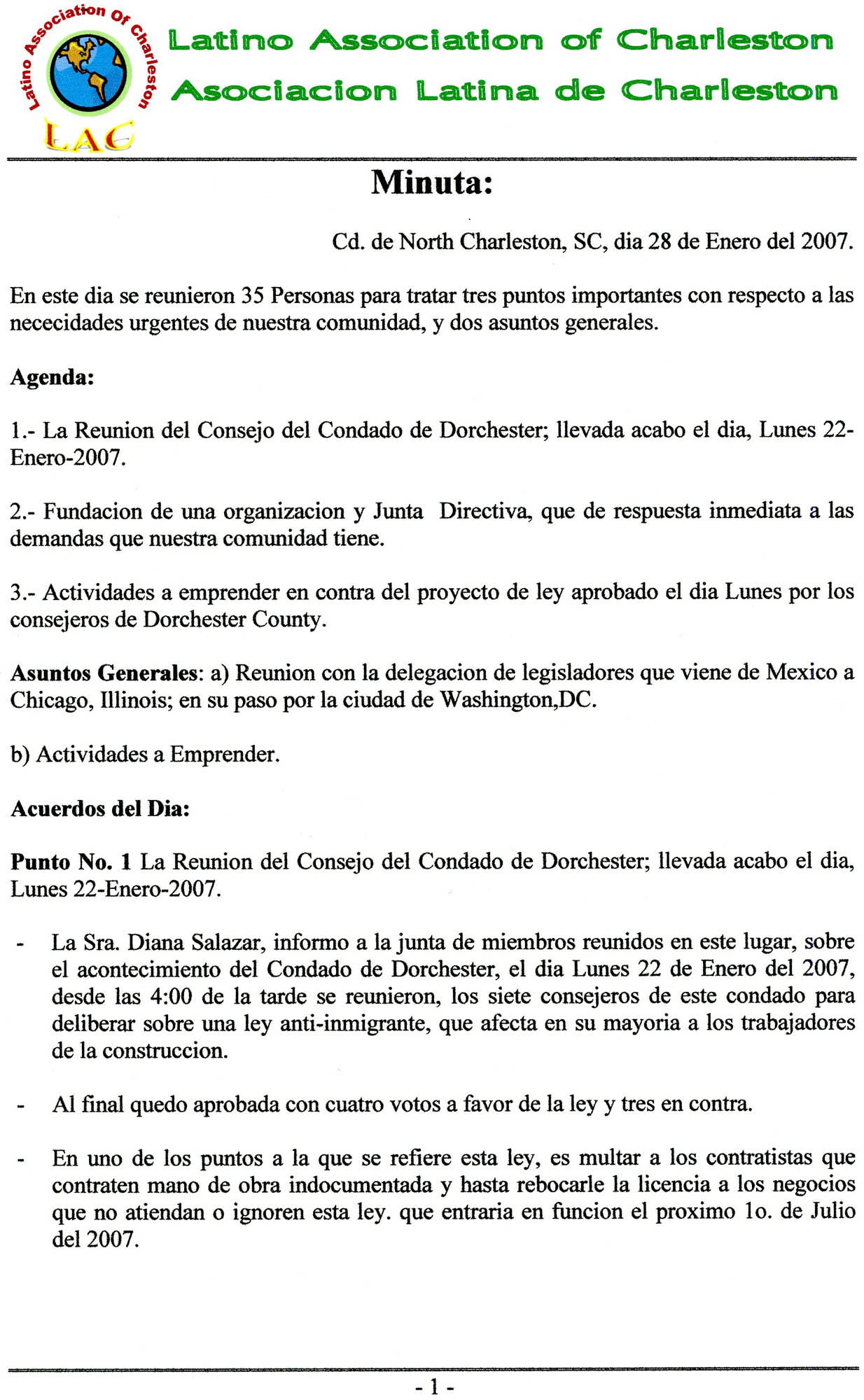 Acta de una reunión de la Asociación Latina de Charleston  /  Latino Association of Charleston Meeting Minutes