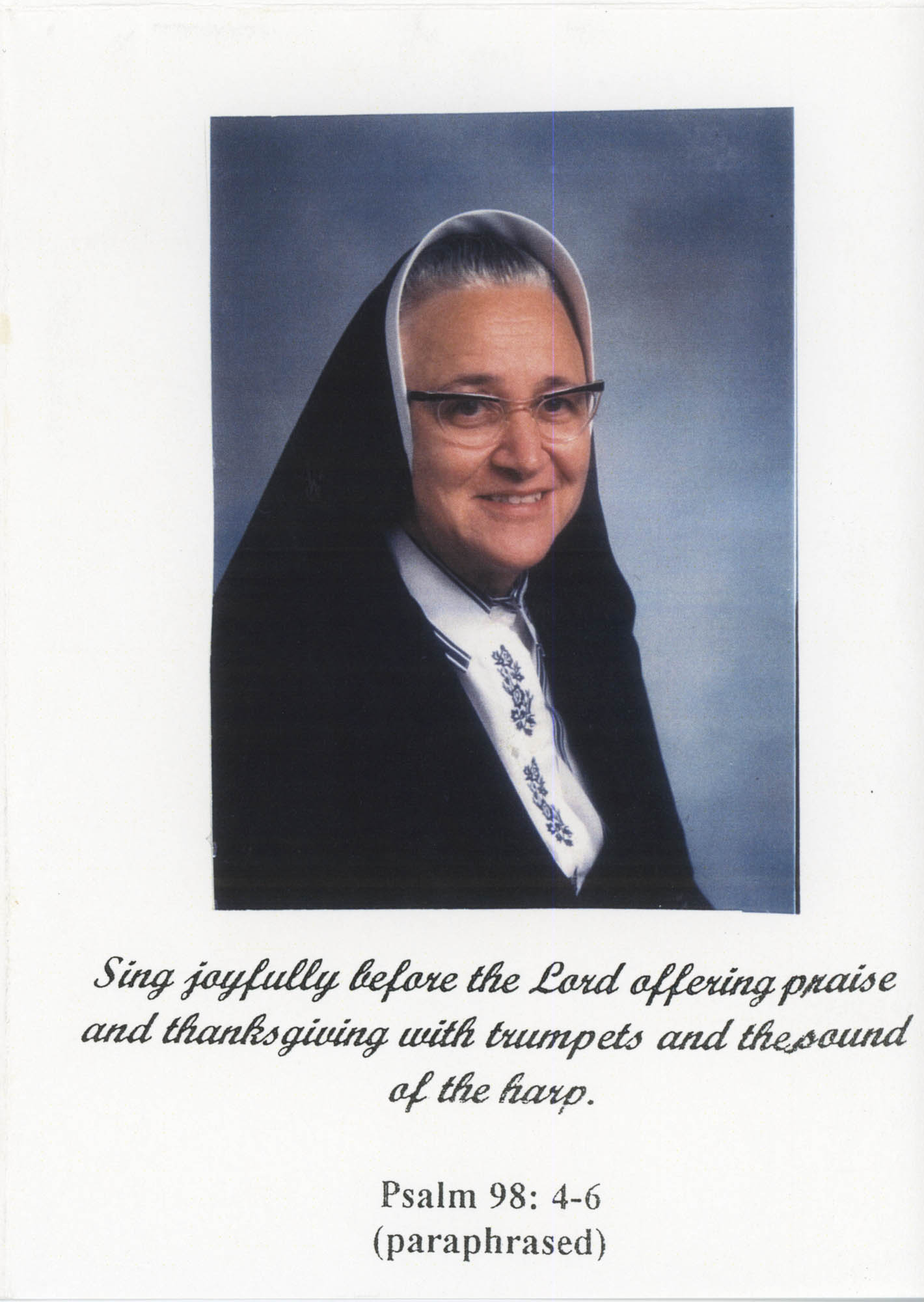 Tarjeta de agradecimiento de la hermana Maria Amelia Ferillo  /  Thank You Card From Sister Maria Amelia Ferrillo
