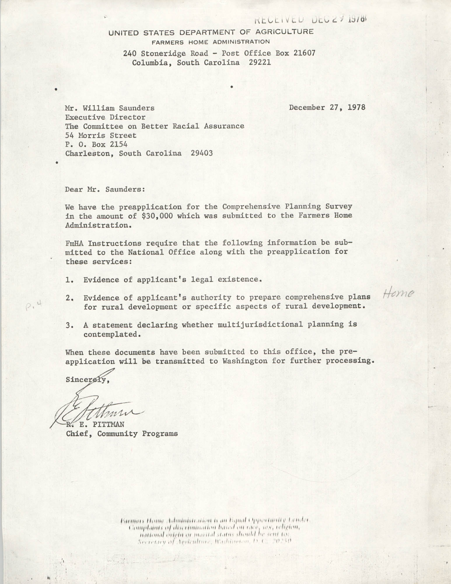 Letter from R. E. Pittman to William Saunders, December 27, 1978