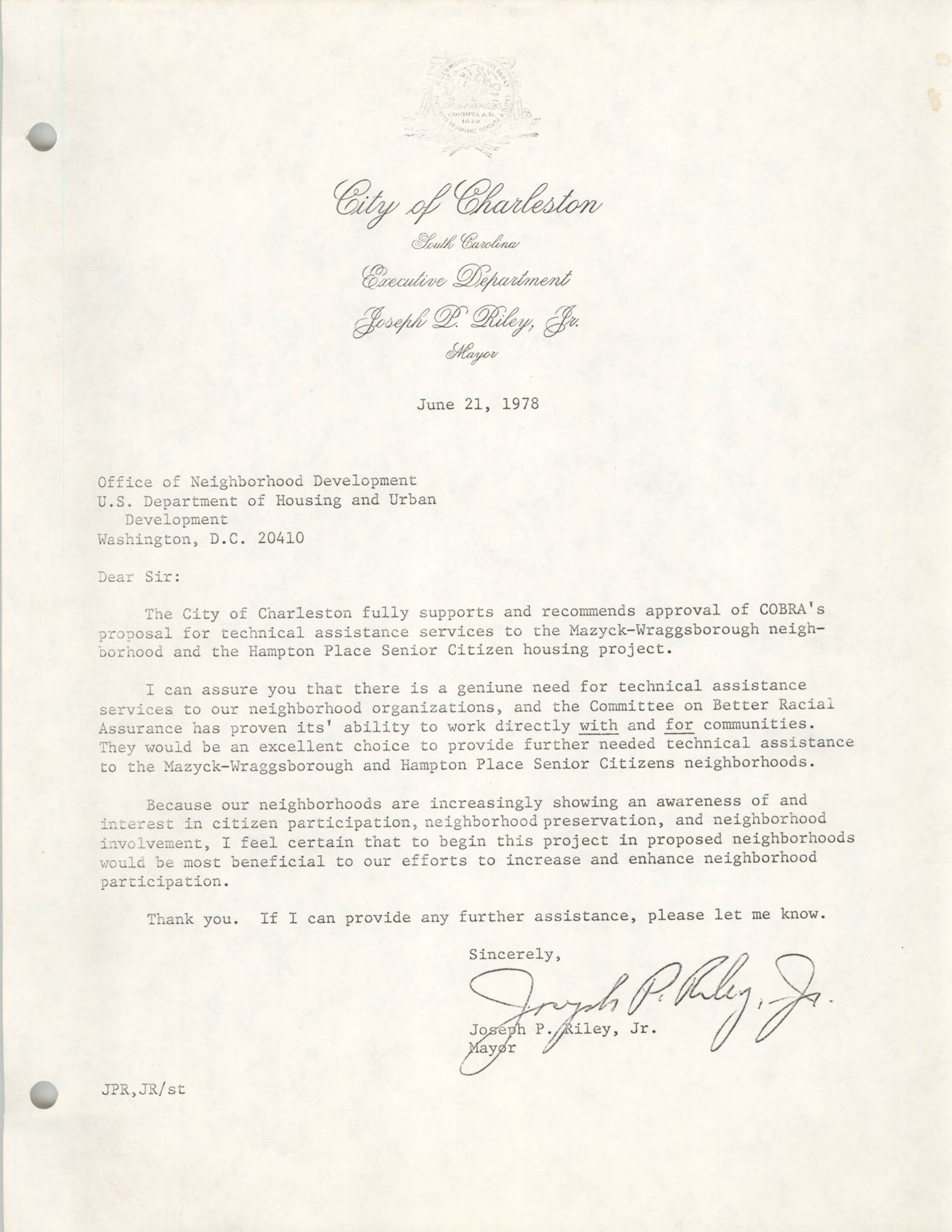 Letter from Joseph P. Riley, Jr. to Office of Neighborhood Development, June 21, 1978