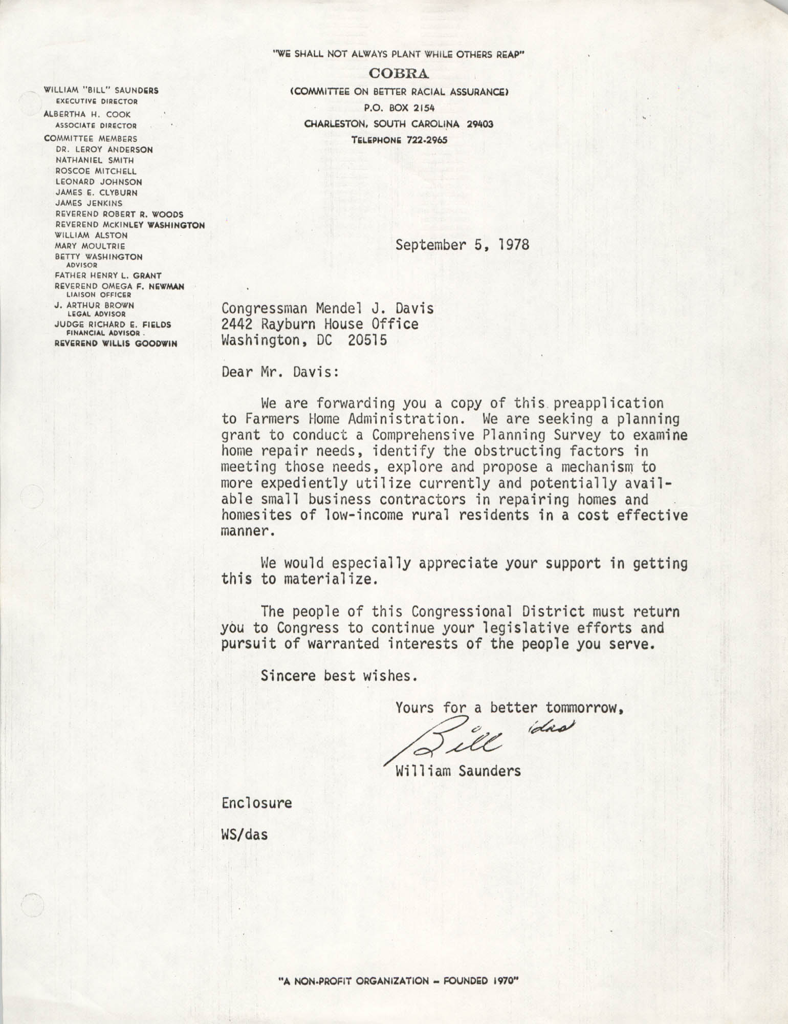 Letter from William Saunders to Mendel J. Davis, September 5, 1978