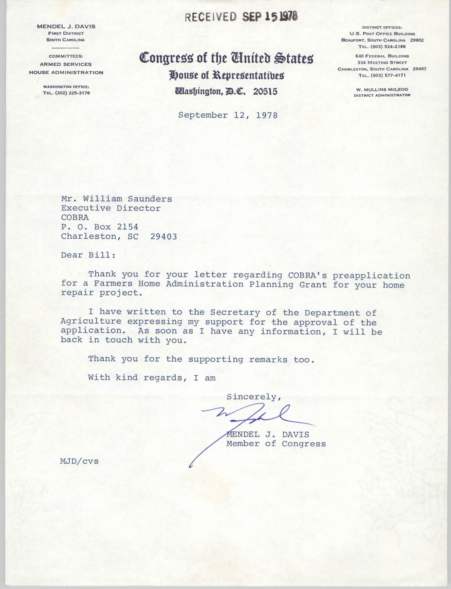 Letter from Mendel J. Davis to William Saunders, September 12, 1978