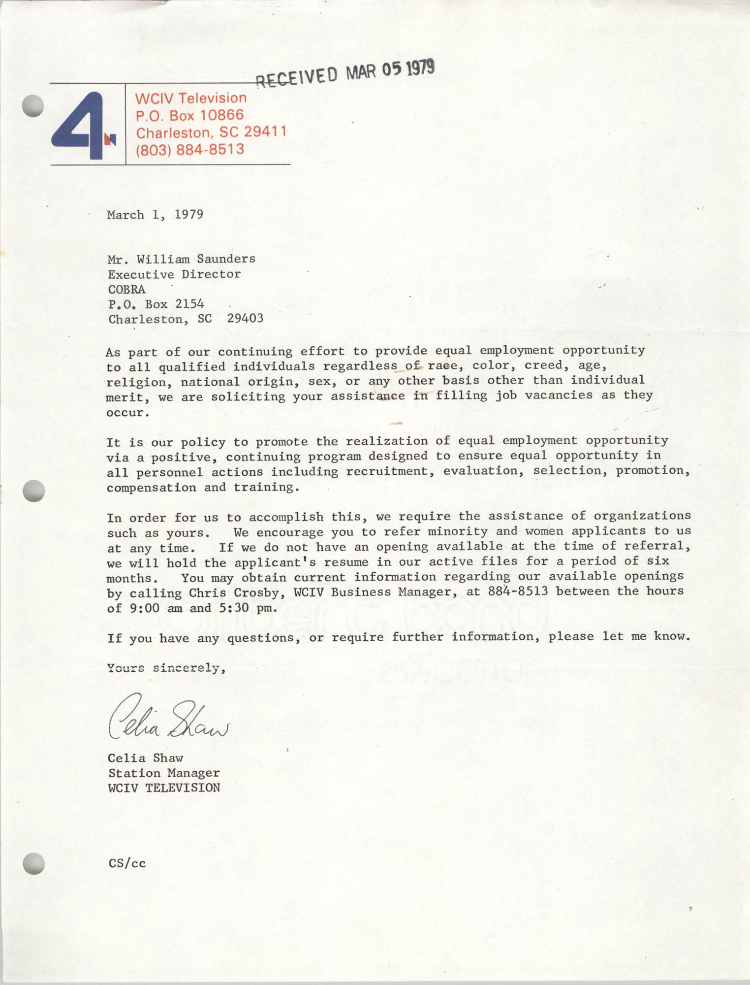 Letter from Celia Shaw to William Saunders, March 1, 1979