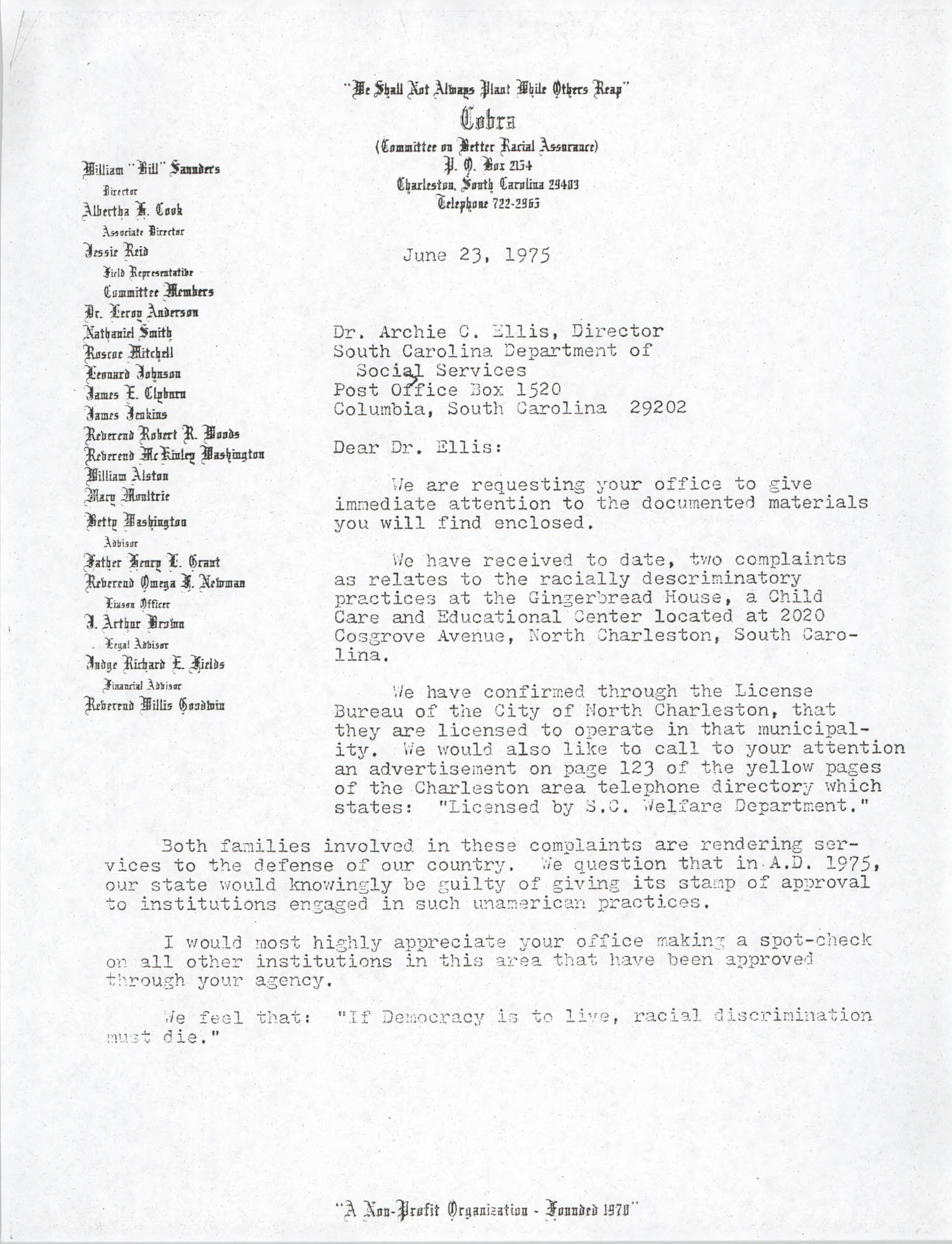 Letter from J. Arthur Brown to Archie C. Ellis, June 23, 1975