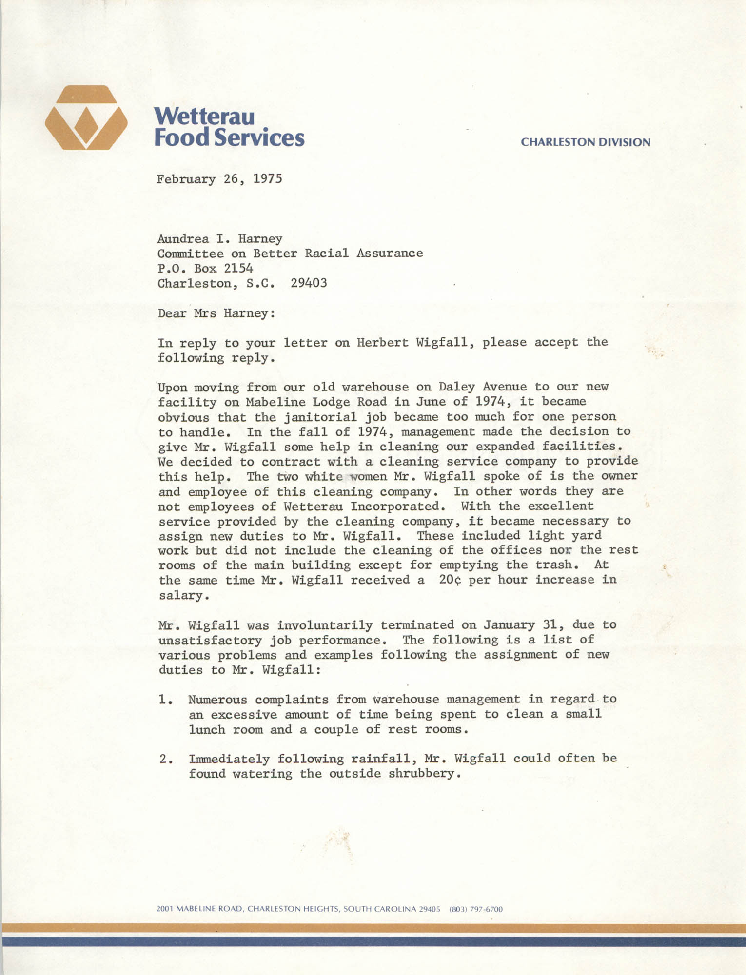 Letter from Darrell Bourne to Aundrea I. Harney, February 26, 1975