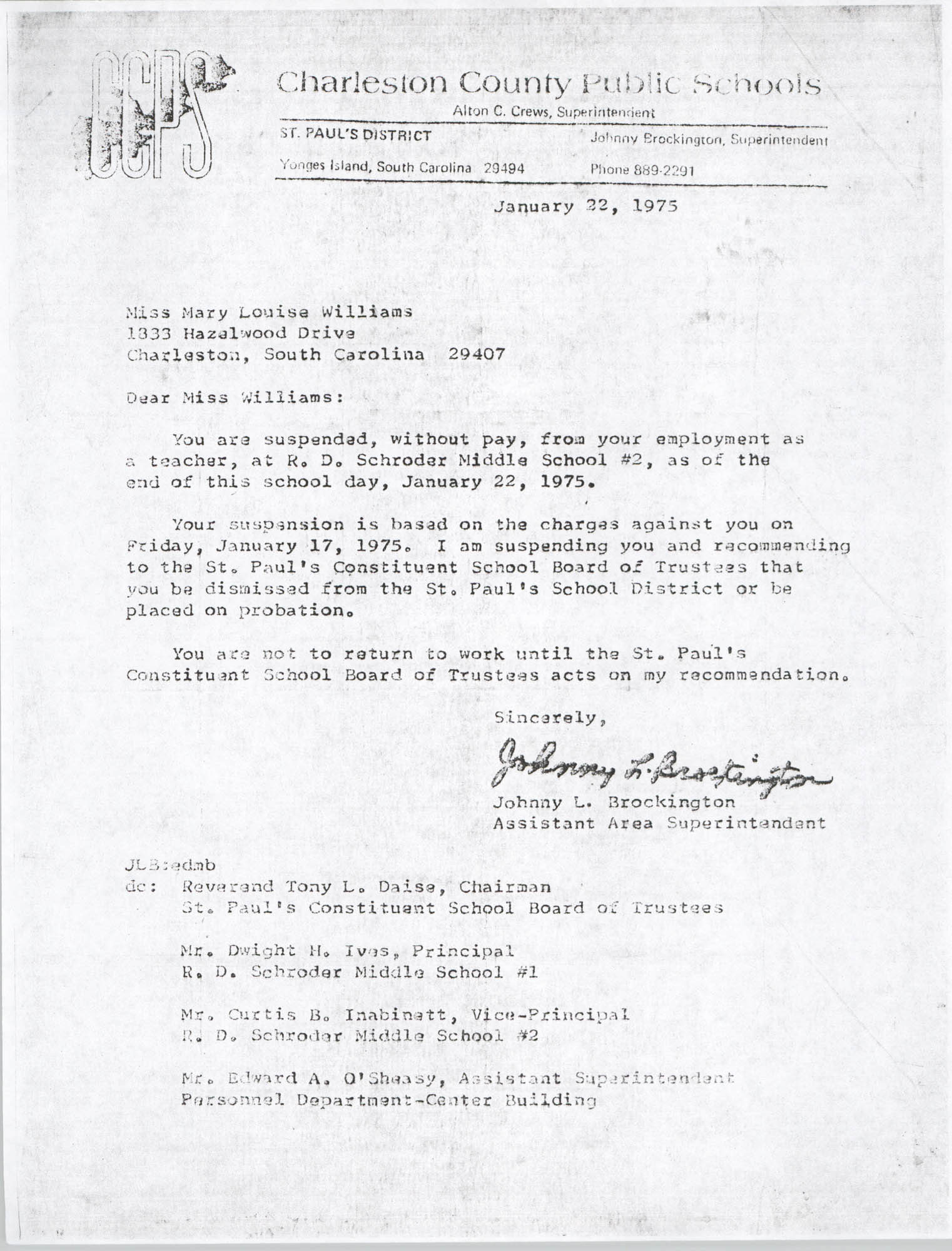 Letter from Johnny L. Brockington to Mary Louise Williams, January 22, 1975