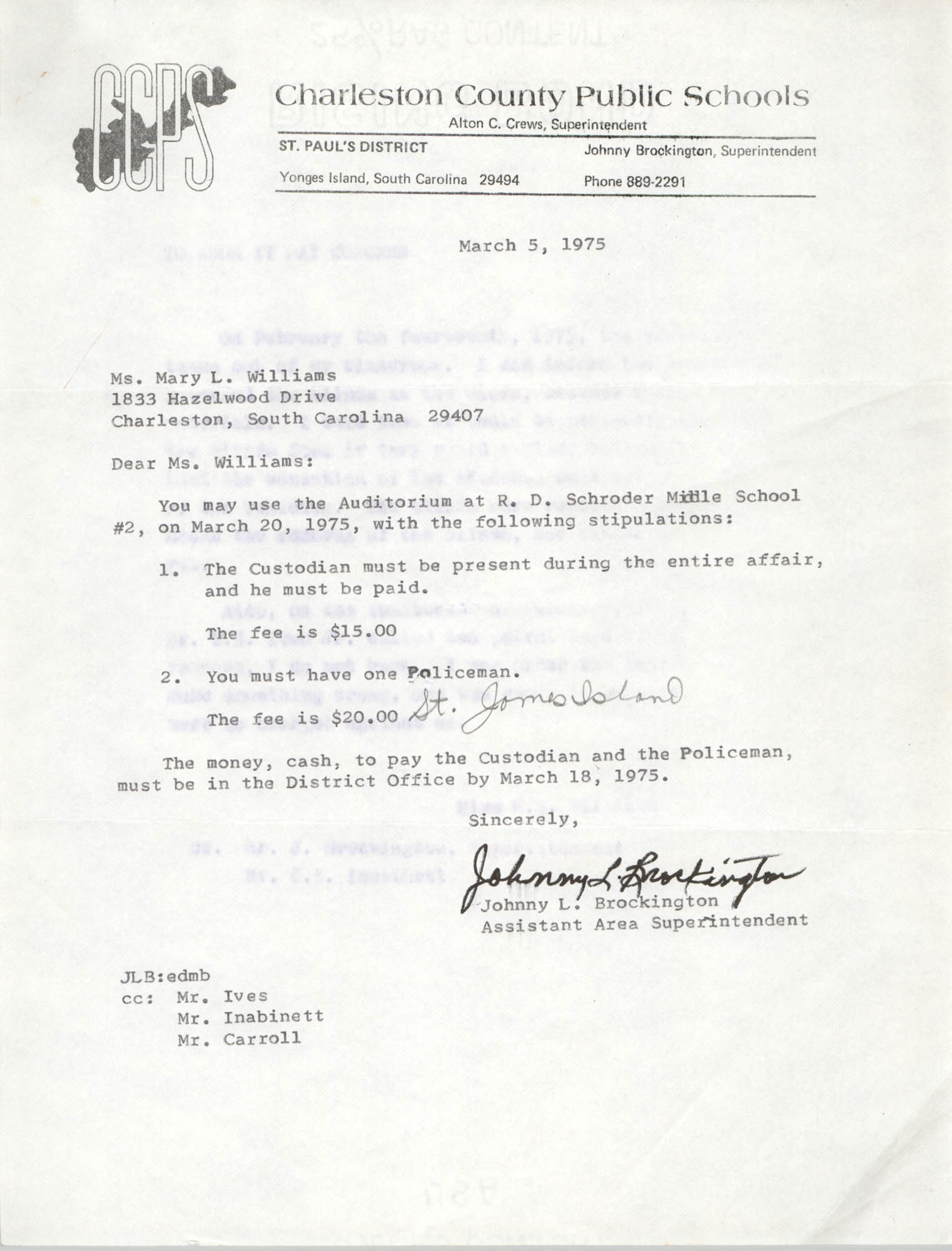 Letter from Johnny L. Brockington to Mary L. Williams, March 5, 1975