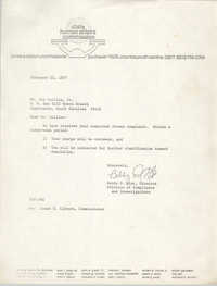 Letter from Bobby D. Gist to Joe Collins, Jr., February 23, 1977