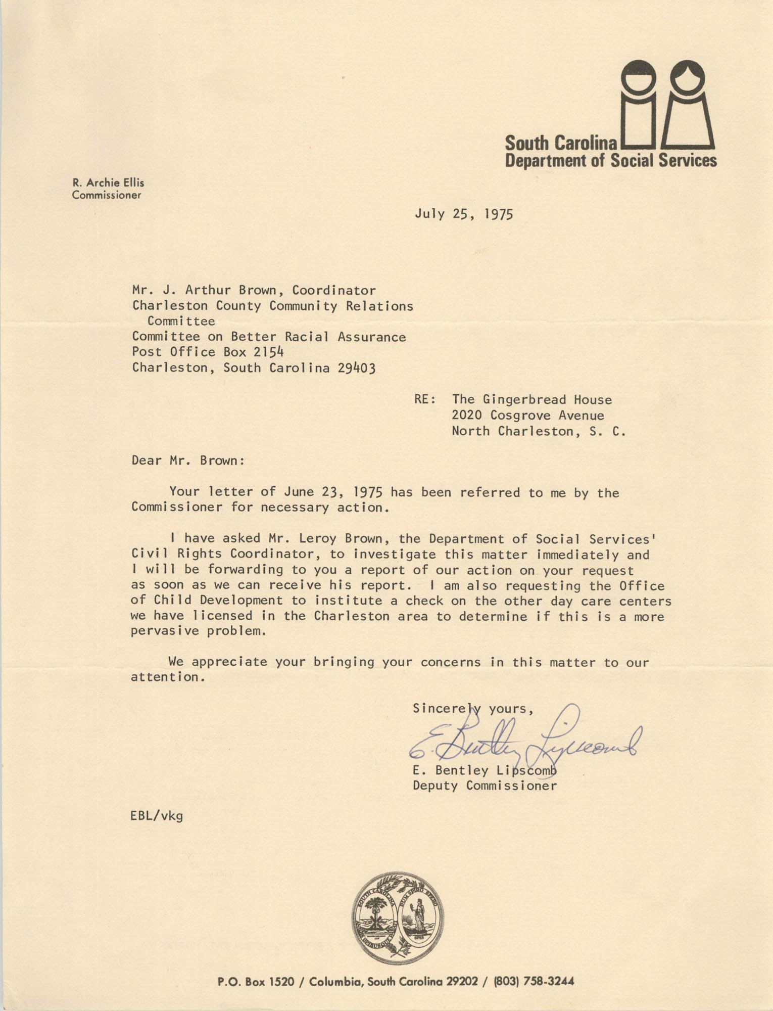 Letter from E. Bentley Lipscomb to J. Arthur Brown, July 25, 1975