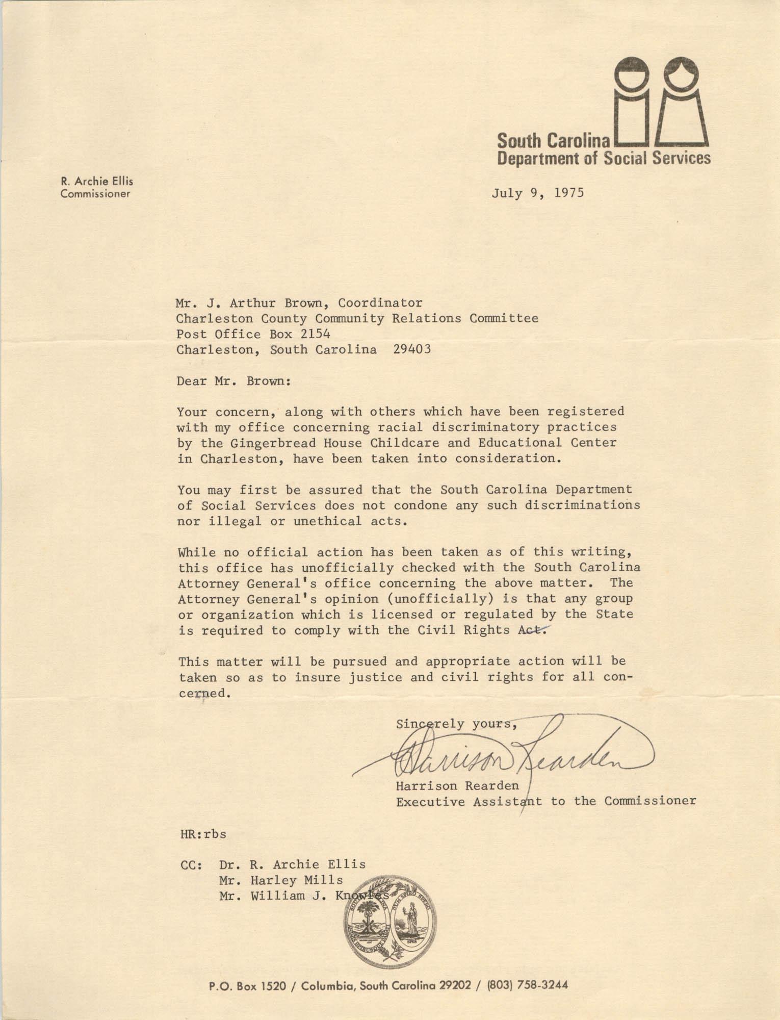 Letter from Harrison Rearden to J. Arthur Brown, July 9, 1975
