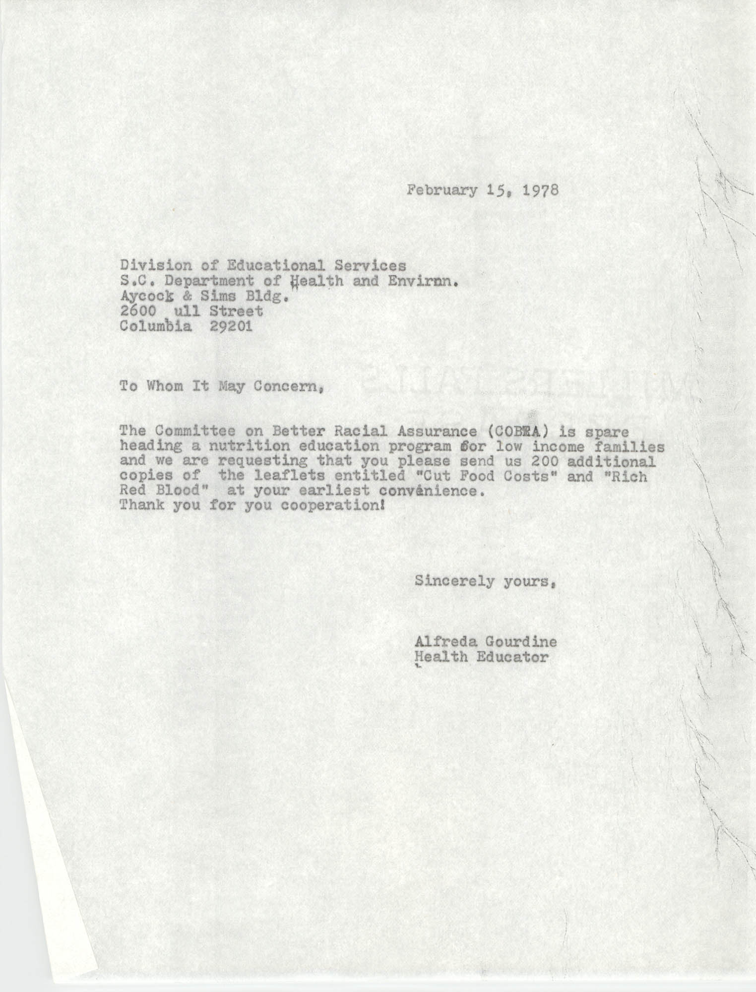 Letter from Alfreda Gourdine to South Carolina Department of Health and Enviroment, February 15, 1978