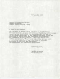 Letter from Alfreda Gourdine to Cooperative Extension Service, February 23, 1978