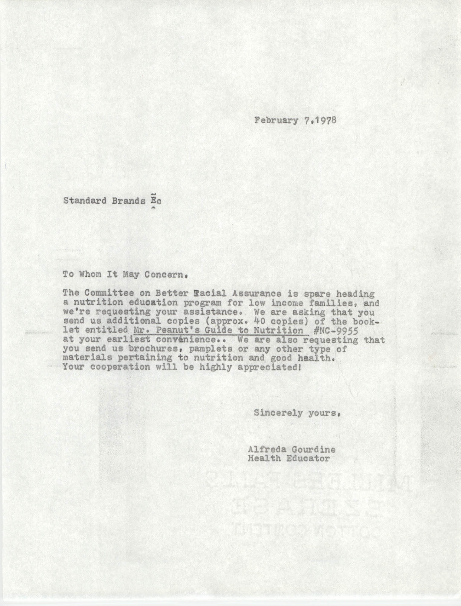Letter from Alfreda Gourdine to Standard Brands, February 7, 1978