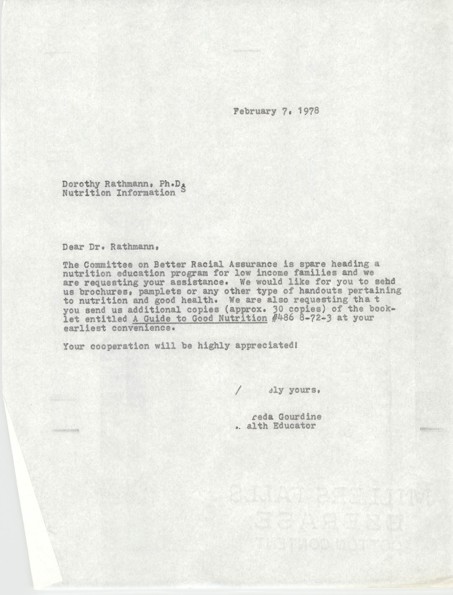 Letter from Alfreda Gourdine to Dorothy Rathmann, February 7, 1978