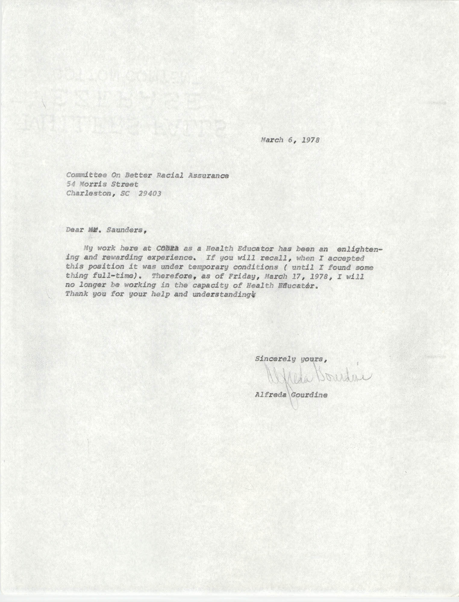 Letter from Alfreda Gourdine to William Saunders, March 6, 1978