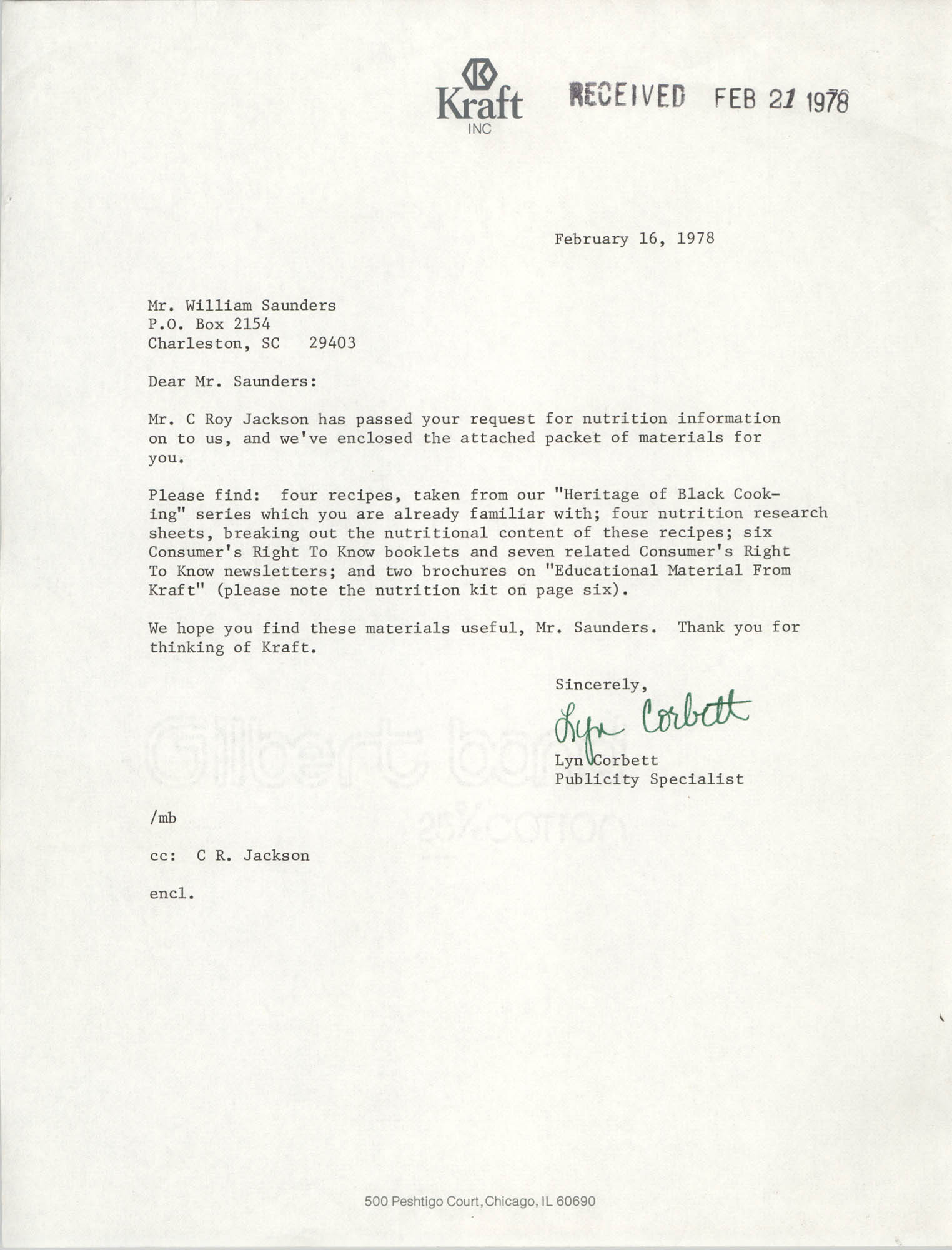 Letter from Lyn Corbett to William Saunders, February 16, 1978