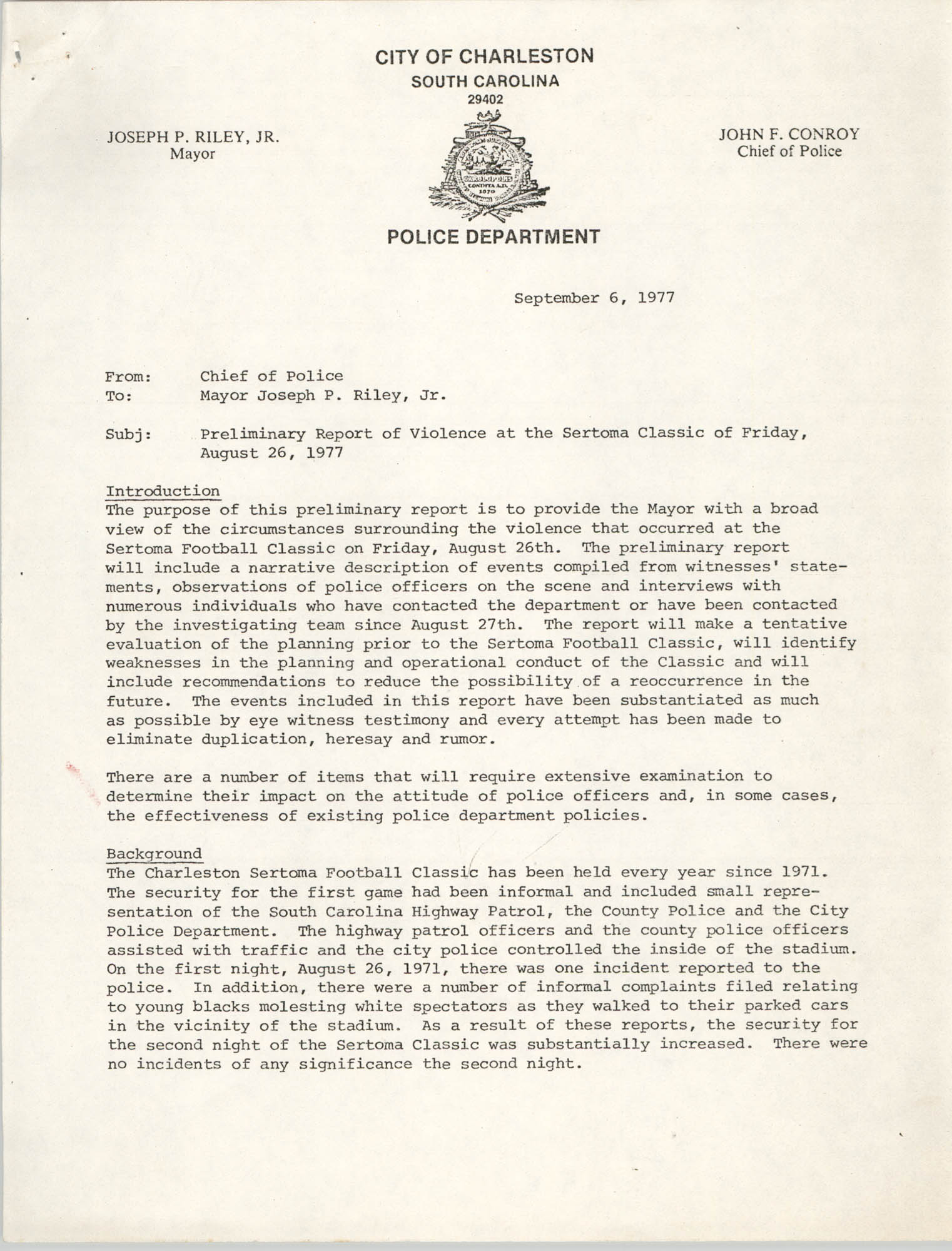 Letter from John F. Conroy to Mayor Joseph P. Riley, Jr., September 6, 1977
