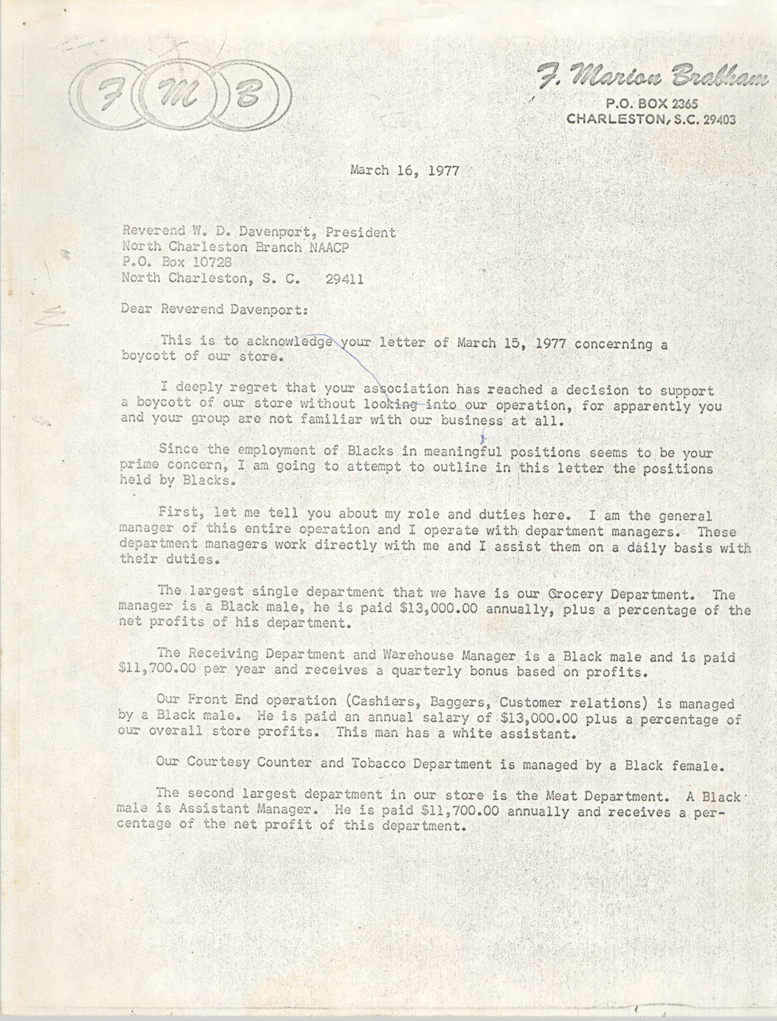 Letter from F. Marion Brabham to Reverend W. D. Davenport, March 16, 1977
