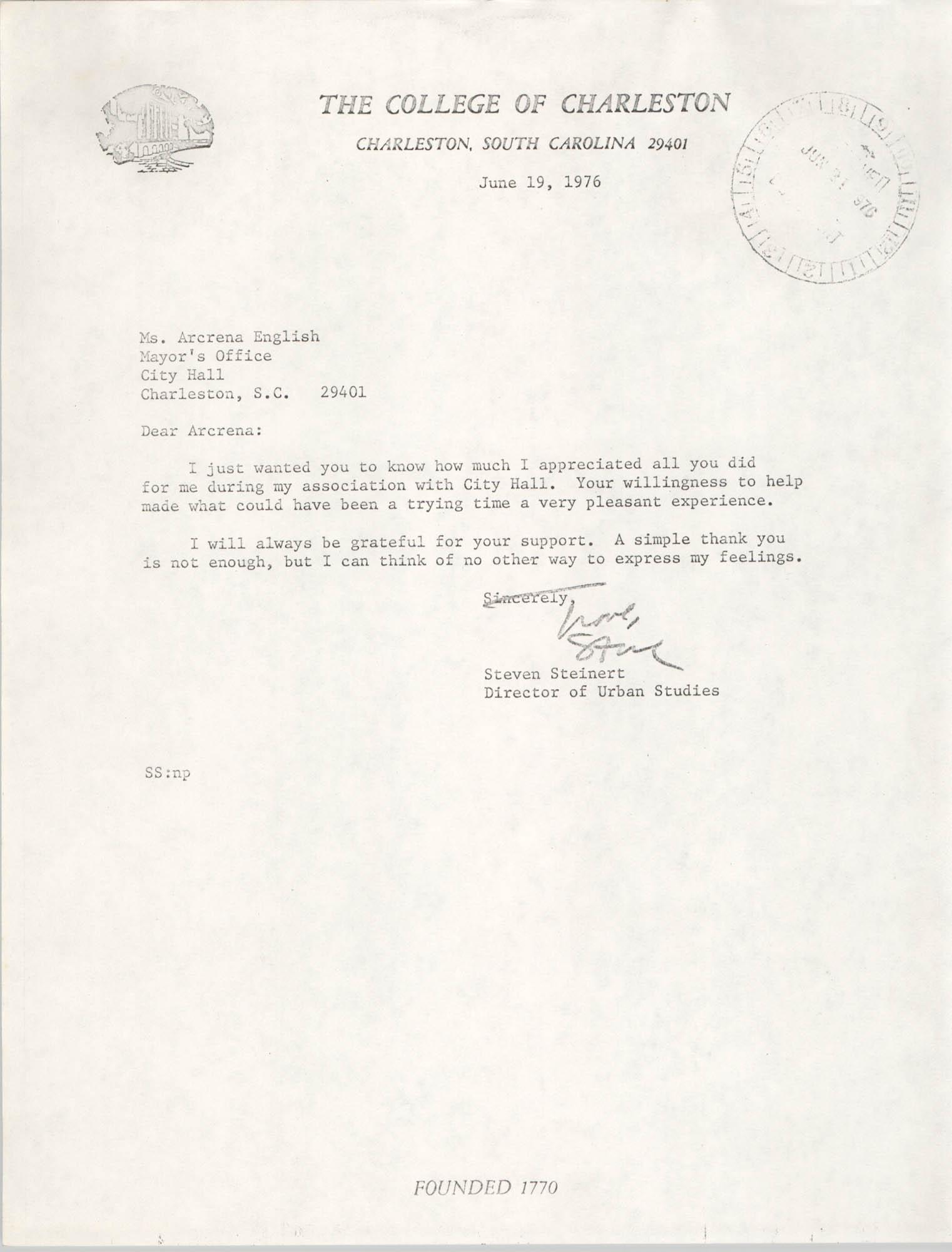 Letter from Steven Steinert to Arcrena Ann English, June 19, 1976