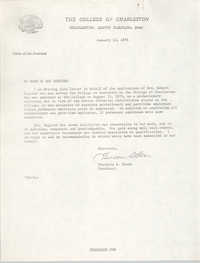 Letter of Recommendation for Arcrena English, January 13, 1976