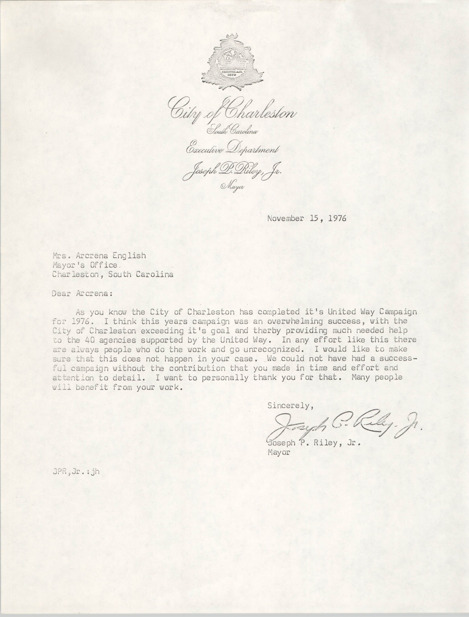 Letter from Joseph P. Riley, Jr. to Arcrena English, November 15, 1976