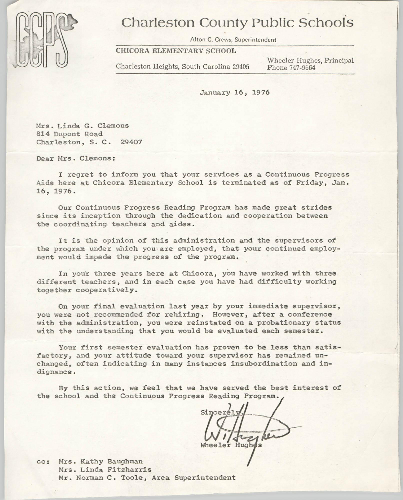 Letter from Wheeler Hughes to Linda G. Clemons, January 16, 1976