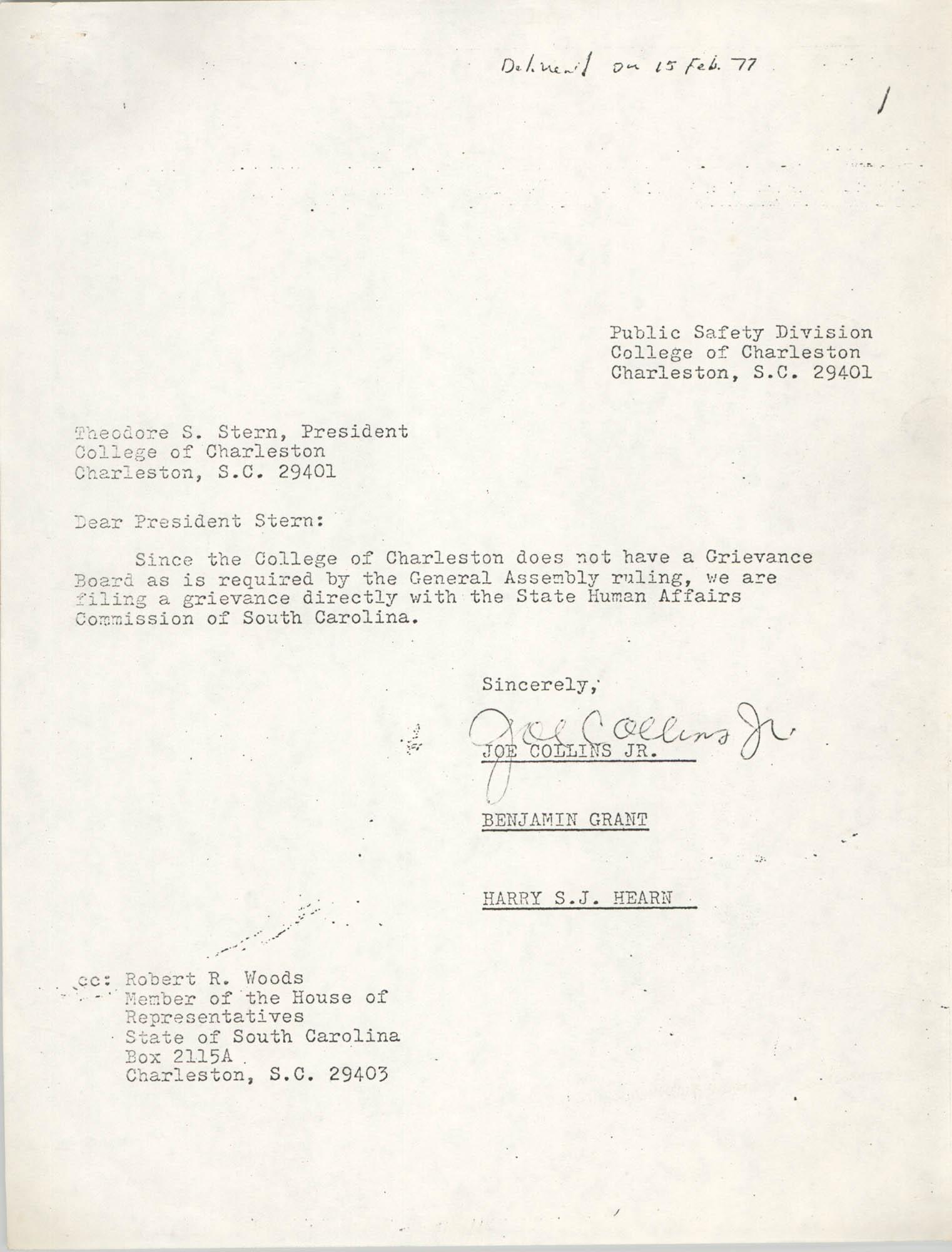 College of Charleston Memorandum, February 15, 1977
