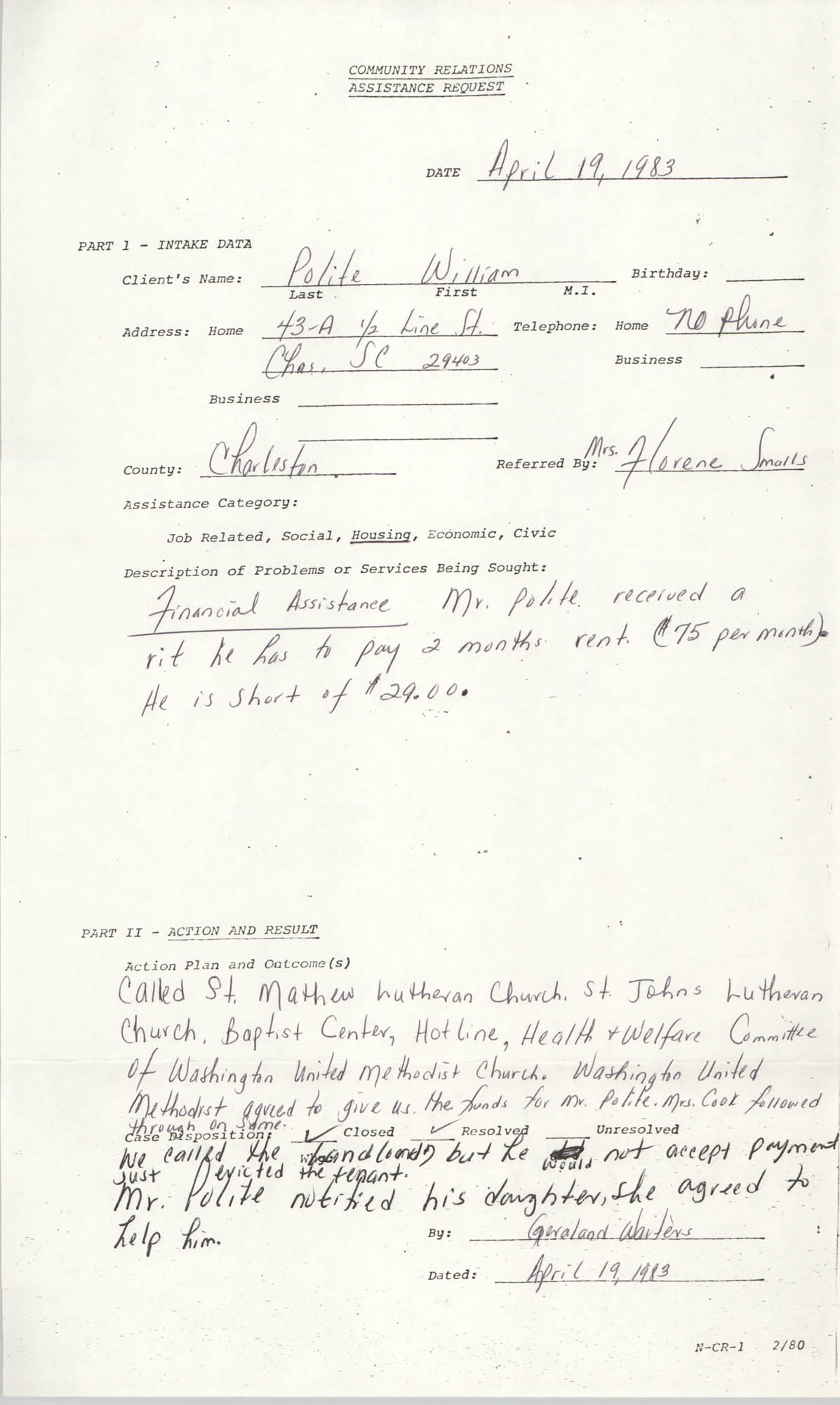 Community Relations Assistance Request, April 19, 1983