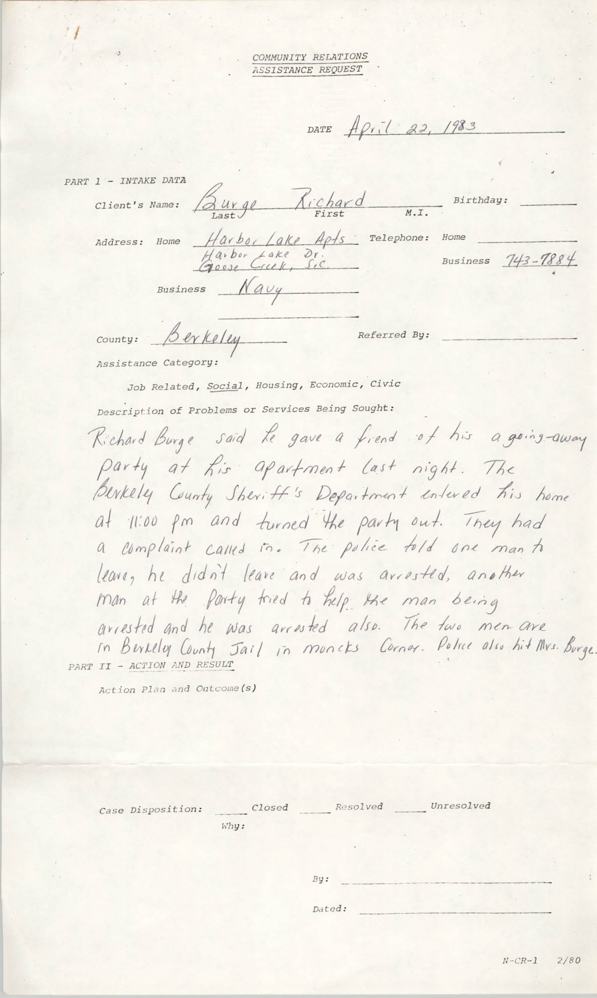 Community Relations Assistance Request, April 22, 1983