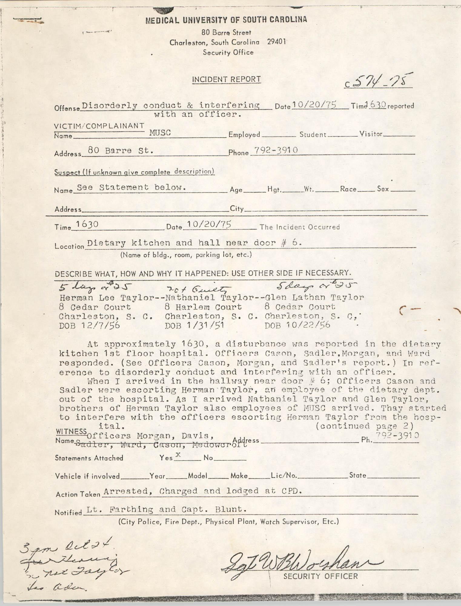 MUSC Incident Report, October 20, 1975