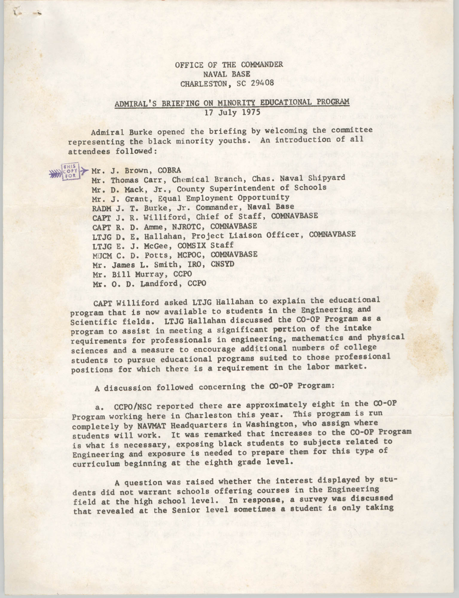 Admiral's Briefing on Minority Educational Program, July 17, 1975