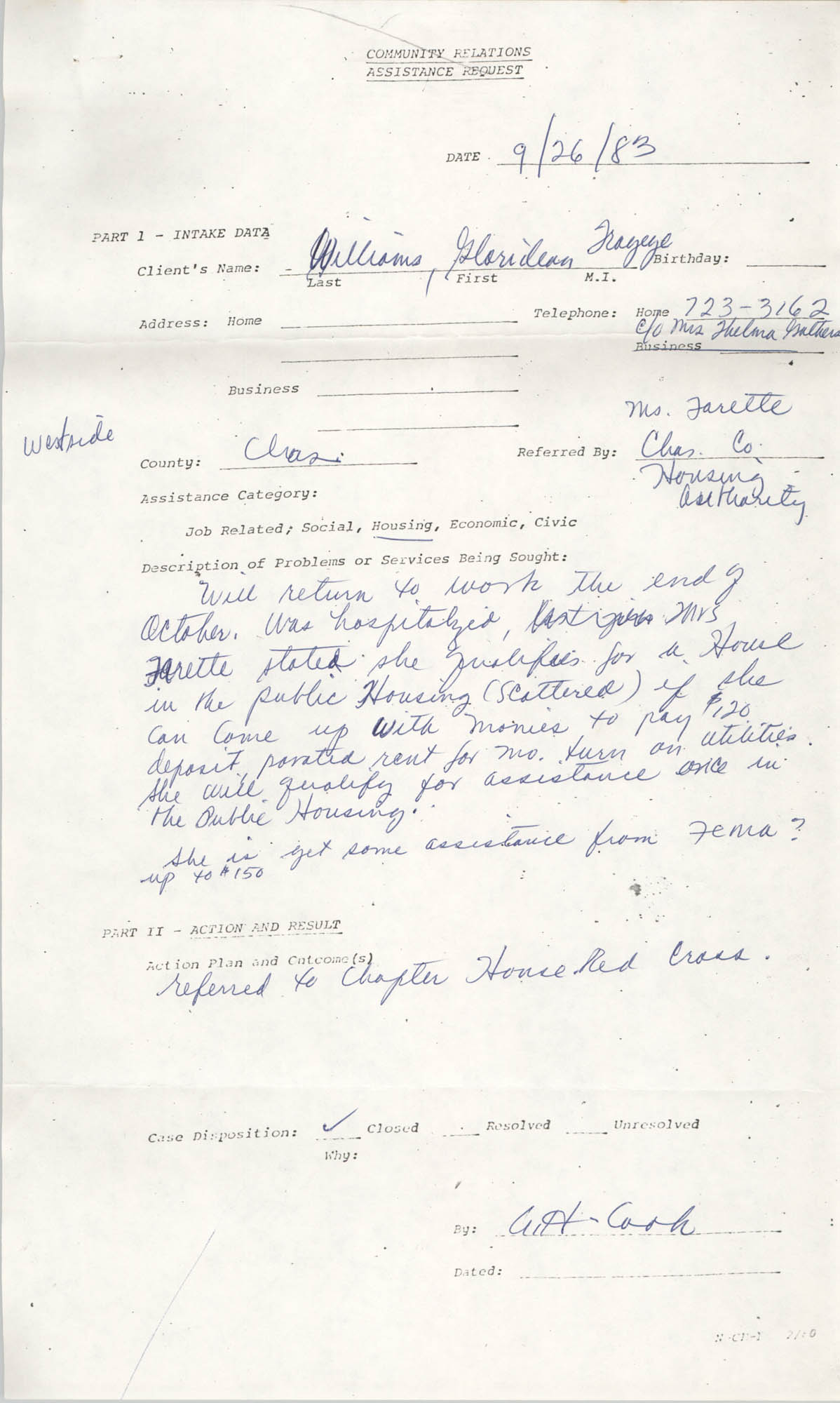 Community Relations Assistance Request, September 26, 1983