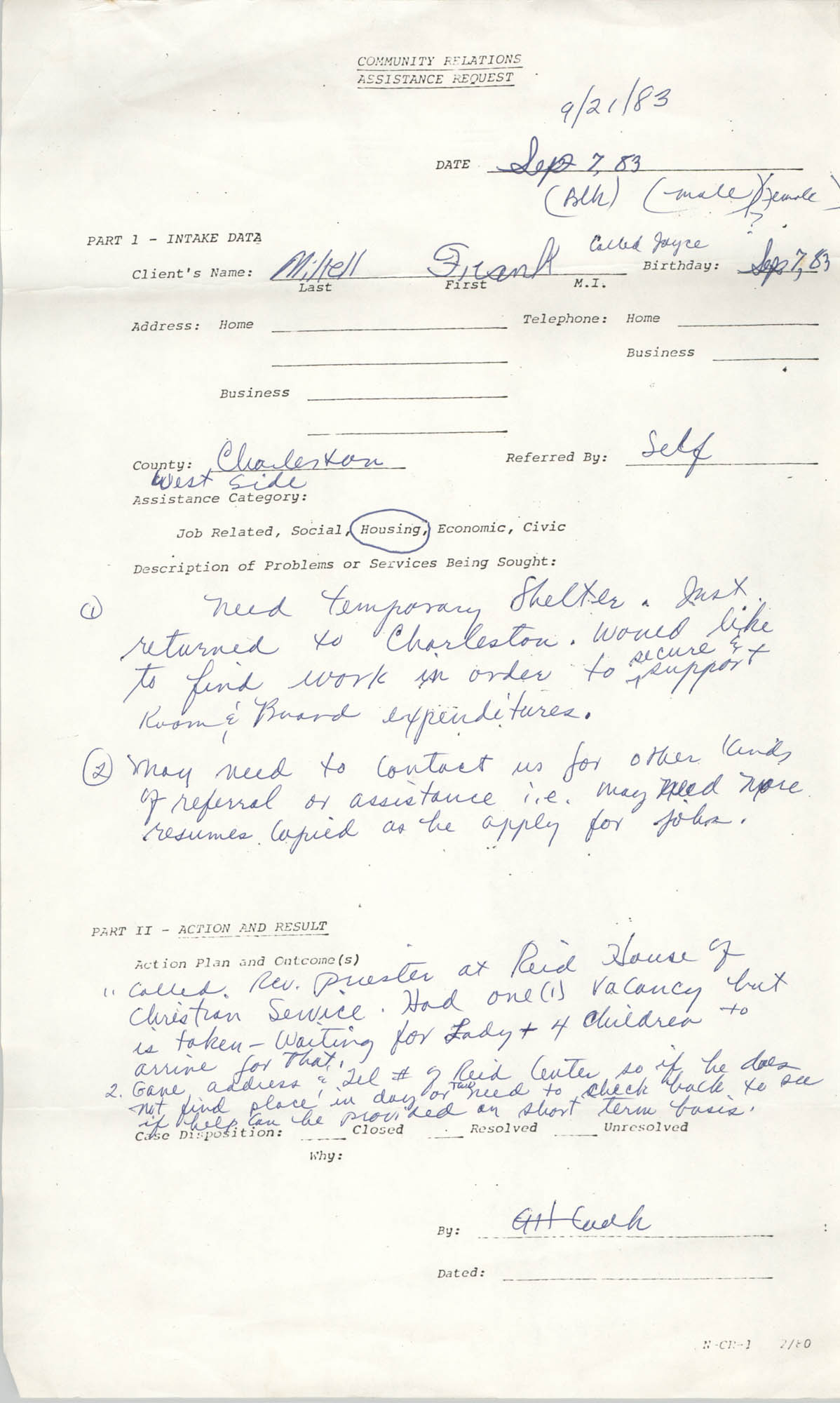 Community Relations Assistance Request, September 21, 1983