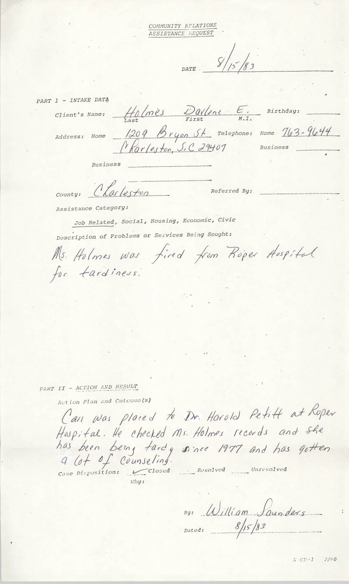 Community Relations Assistance Request, August 15, 1983