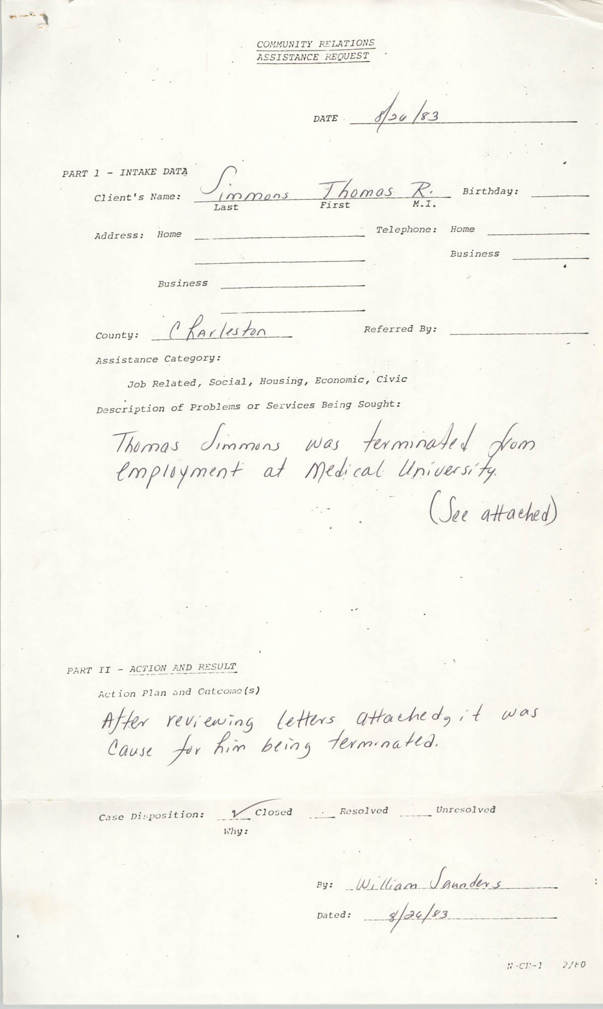 Community Relations Assistance Request, August 26, 1983