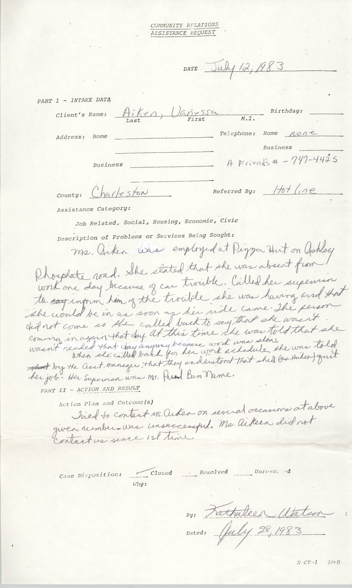 Community Relations Assistance Request, July 14, 1983